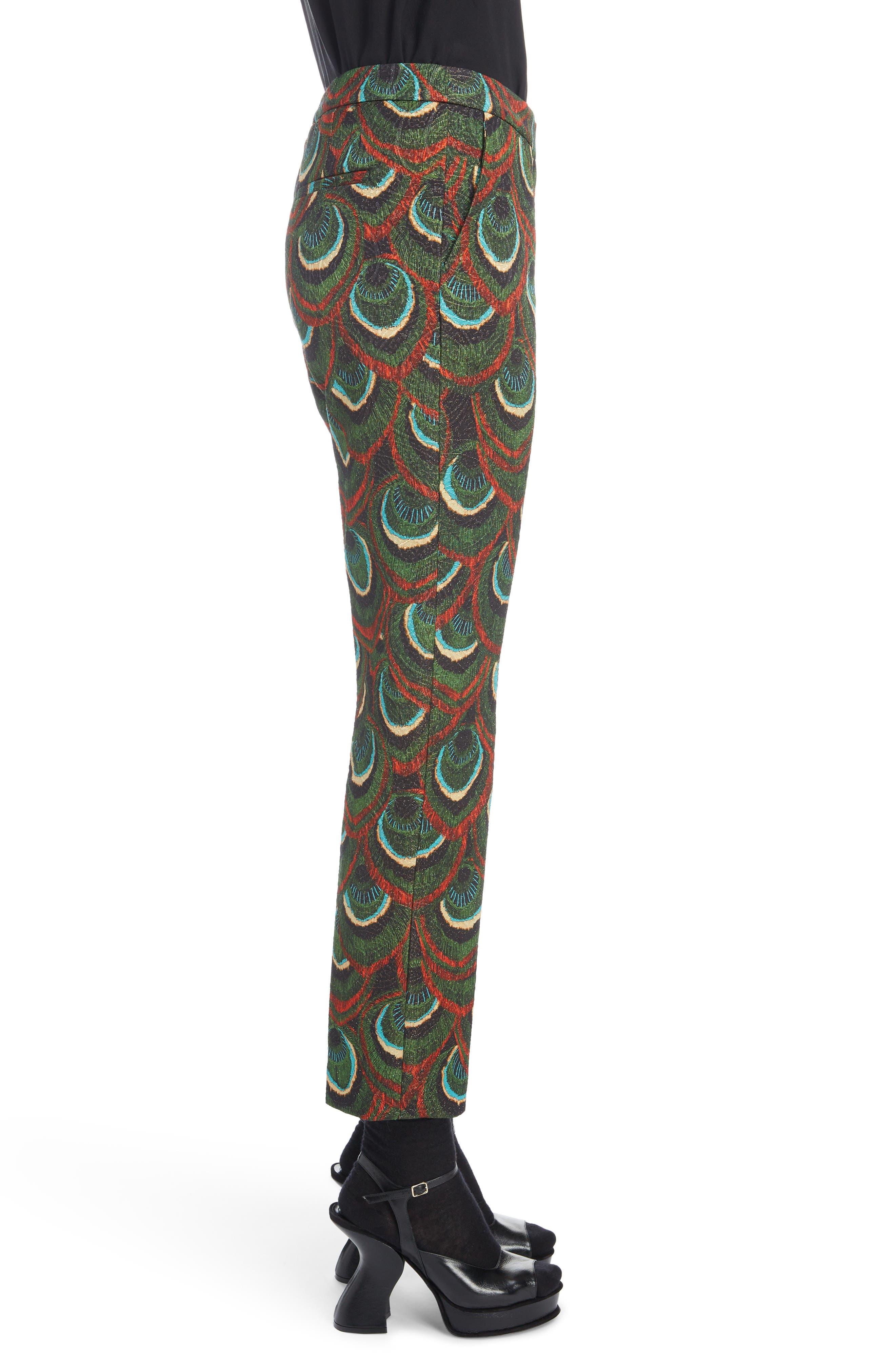 Peacock Print Crop Pants,                             Alternate thumbnail 3, color,                             300