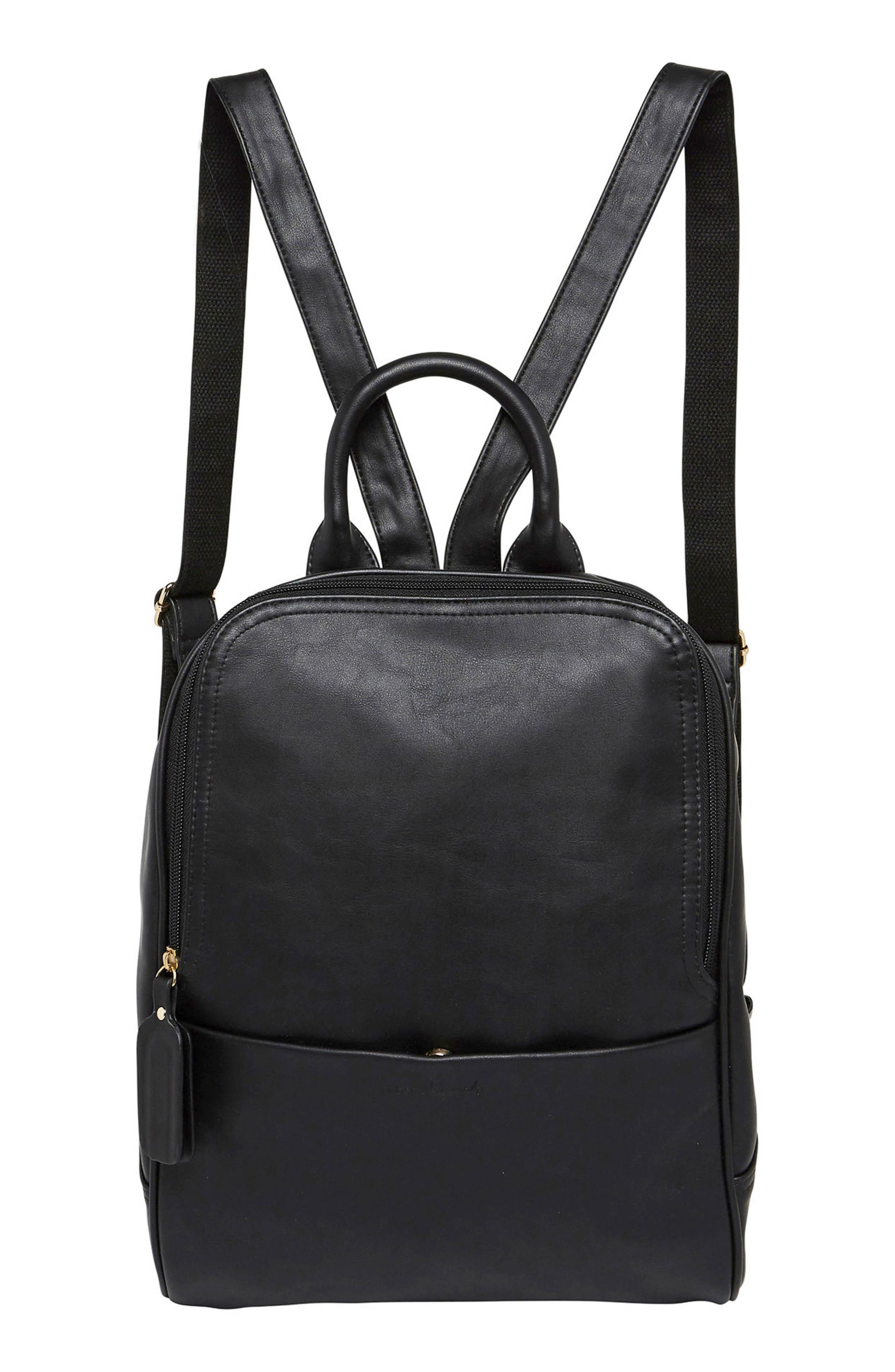 Evolution Vegan Leather Backpack,                             Main thumbnail 1, color,                             BLACK