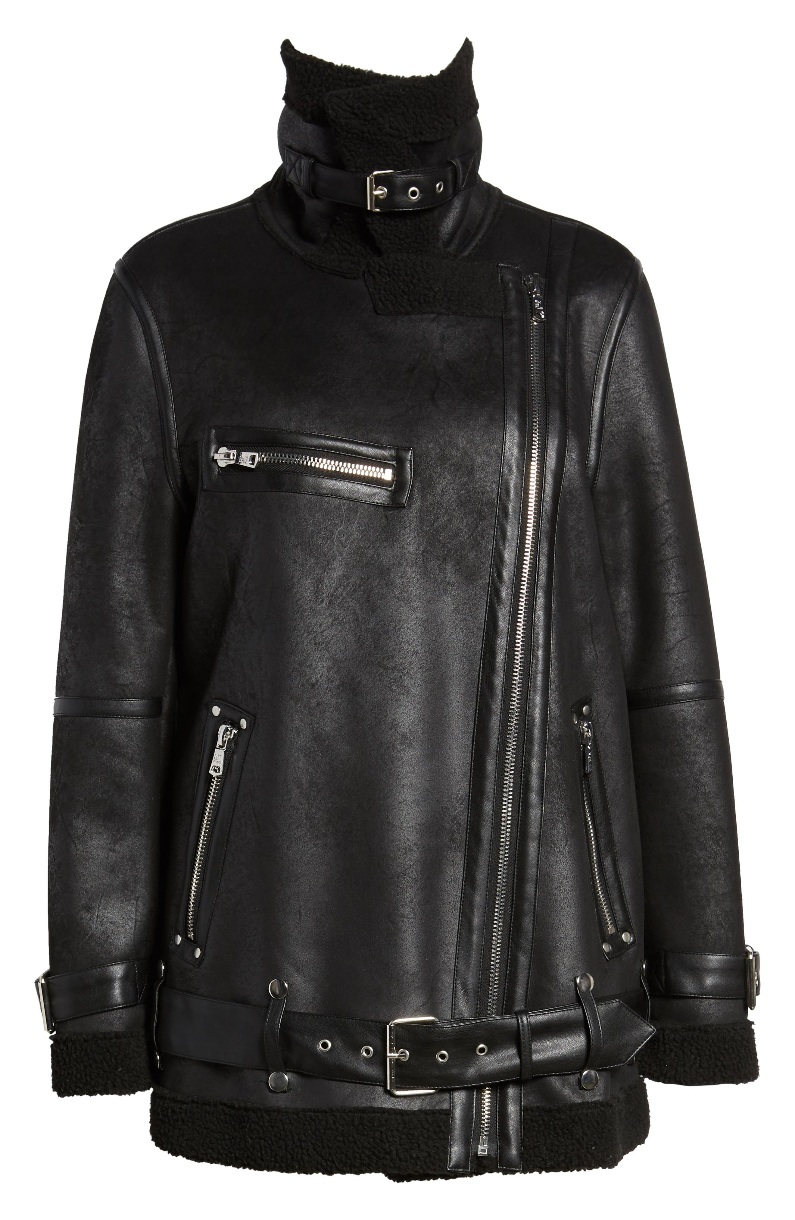 Faux Shearling Biker Jacket,                             Alternate thumbnail 6, color,                             BLACK