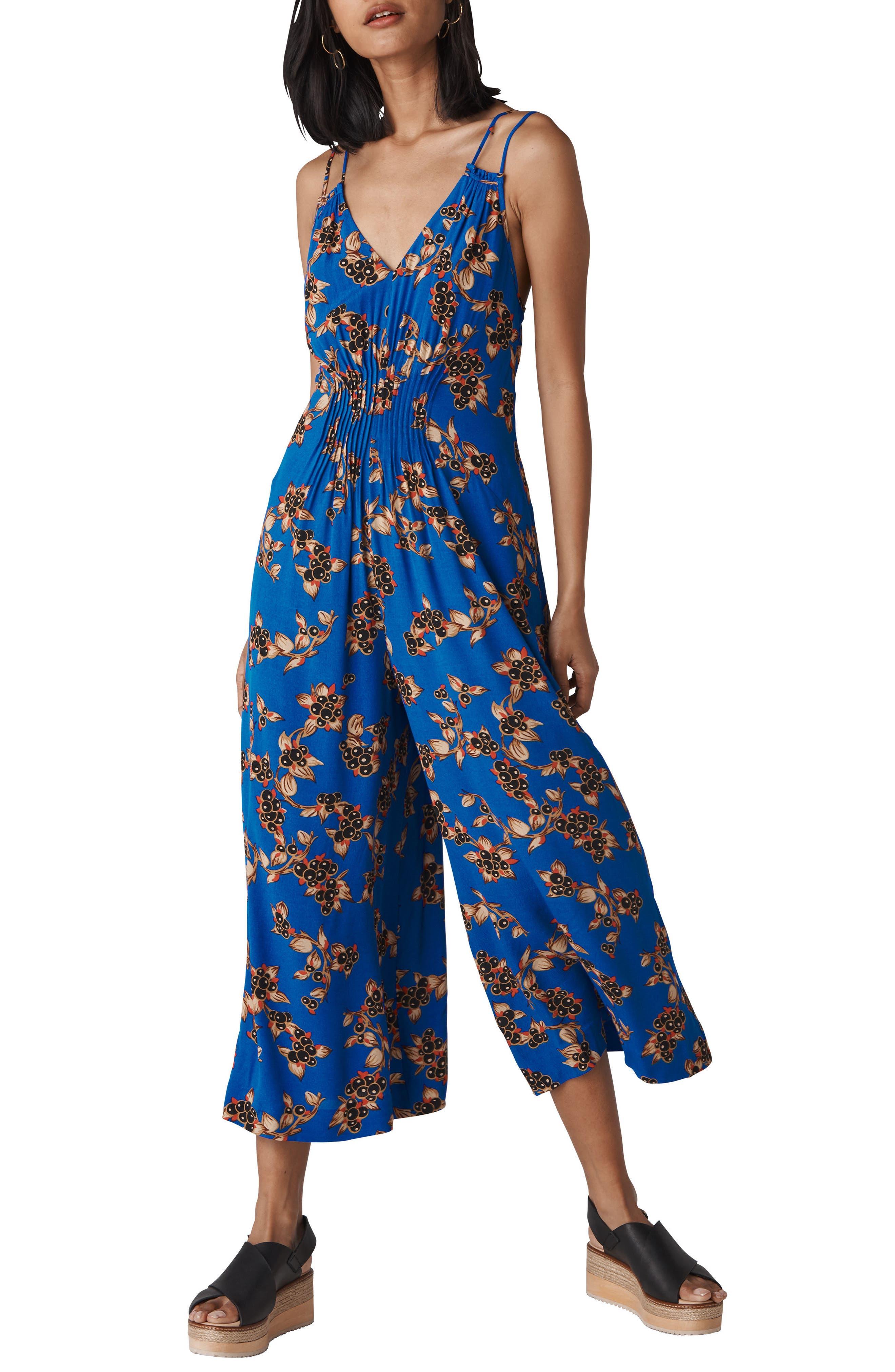 Armelle Capri Print Jumpsuit,                         Main,                         color, BLUE/ MULTI