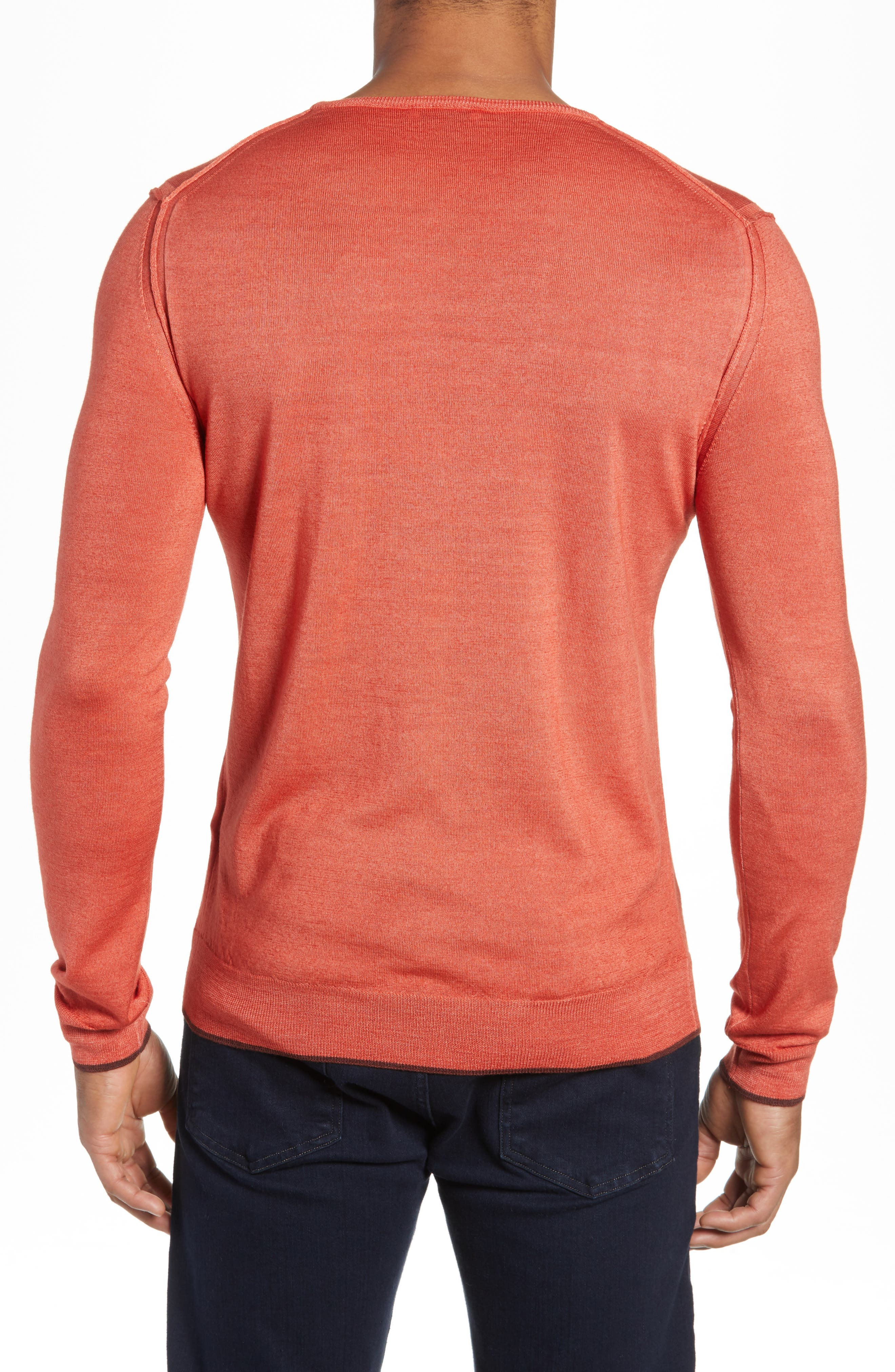 Trim Fit Crewneck Wool Sweater,                             Alternate thumbnail 2, color,                             ORANGE