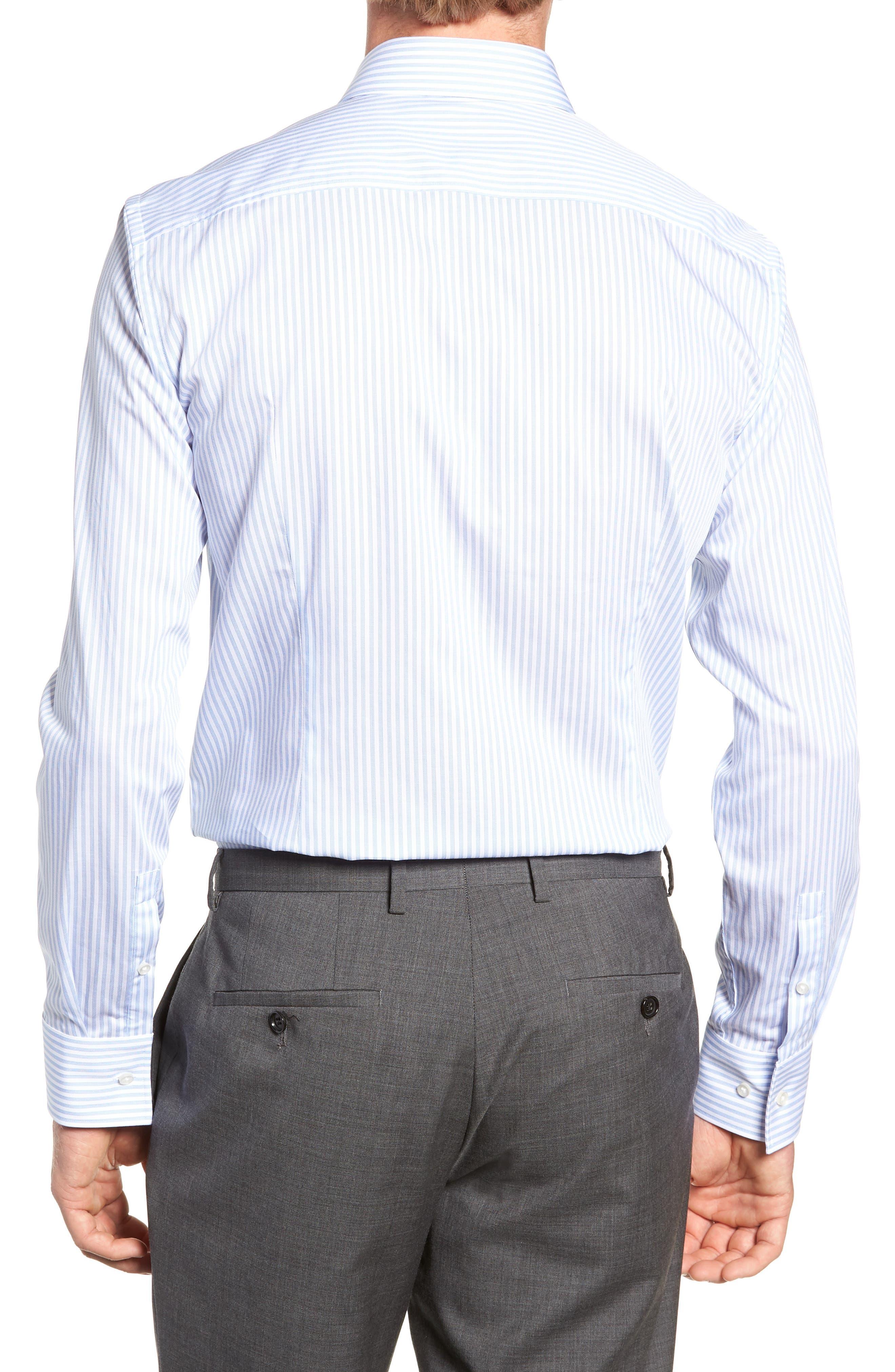 Jenno Trim Fit Stripe Dress Shirt,                             Alternate thumbnail 3, color,                             BLUE