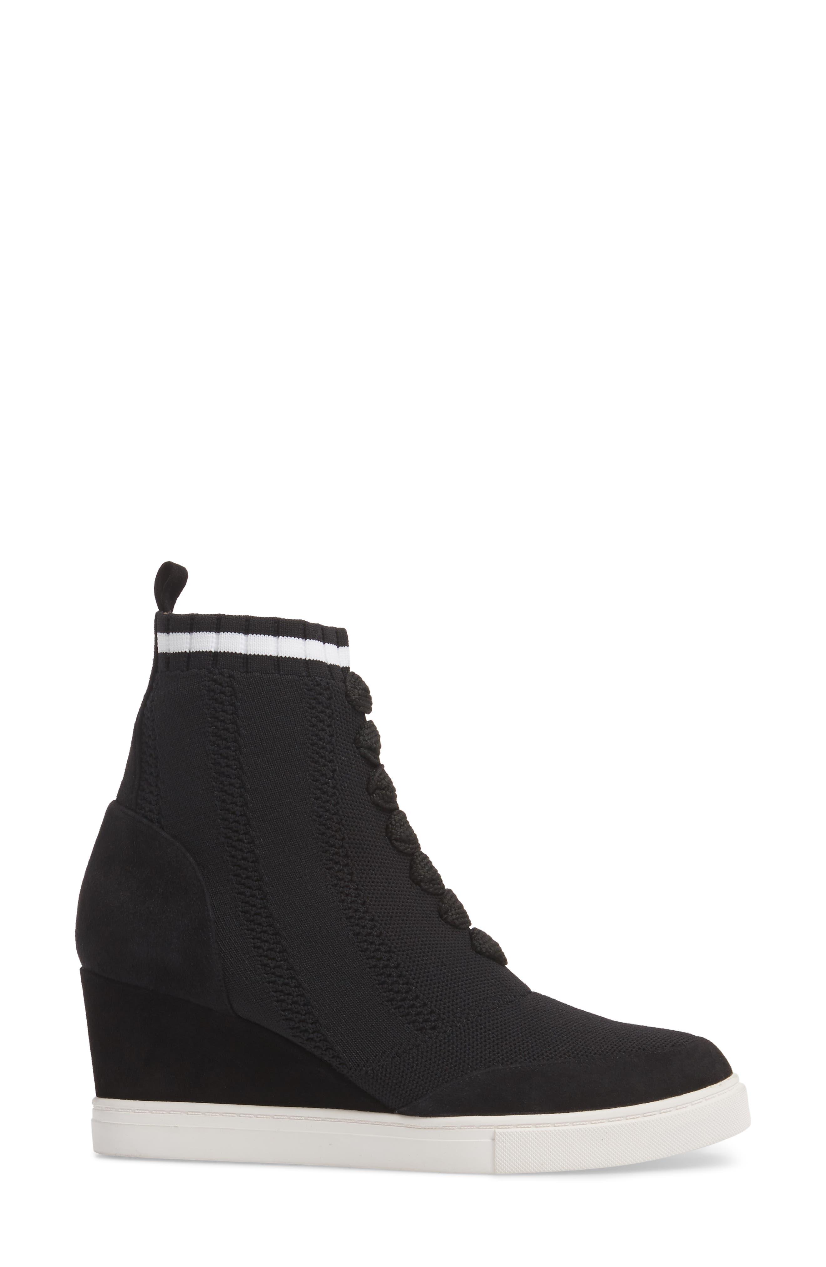 Fabiana Wedge Sneaker,                             Alternate thumbnail 3, color,                             BLACK SUEDE