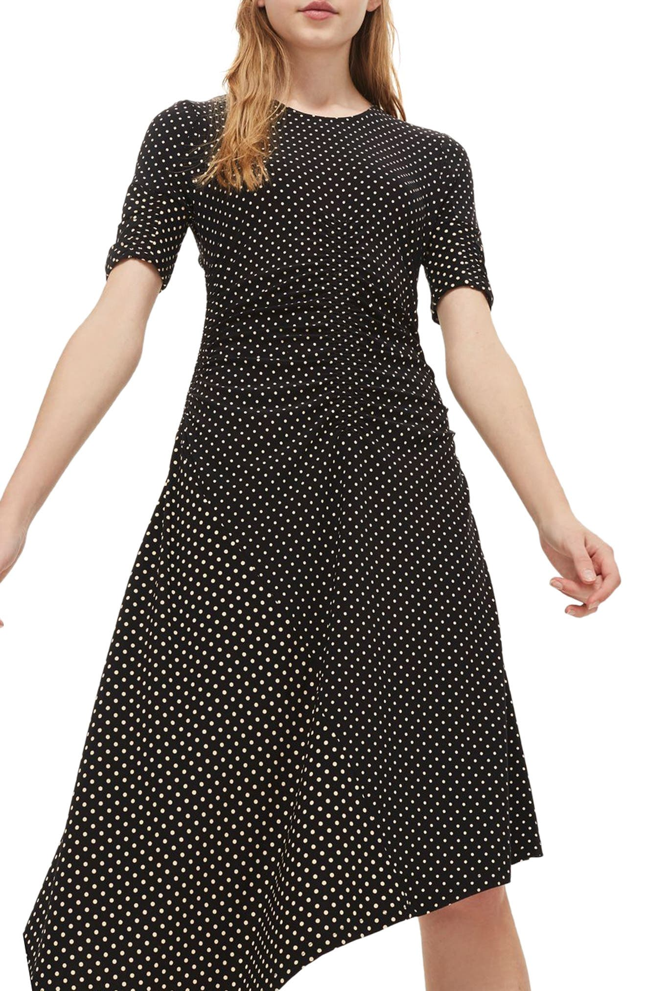 Polka Dot Asymmetrical Midi Dress,                             Main thumbnail 1, color,                             001