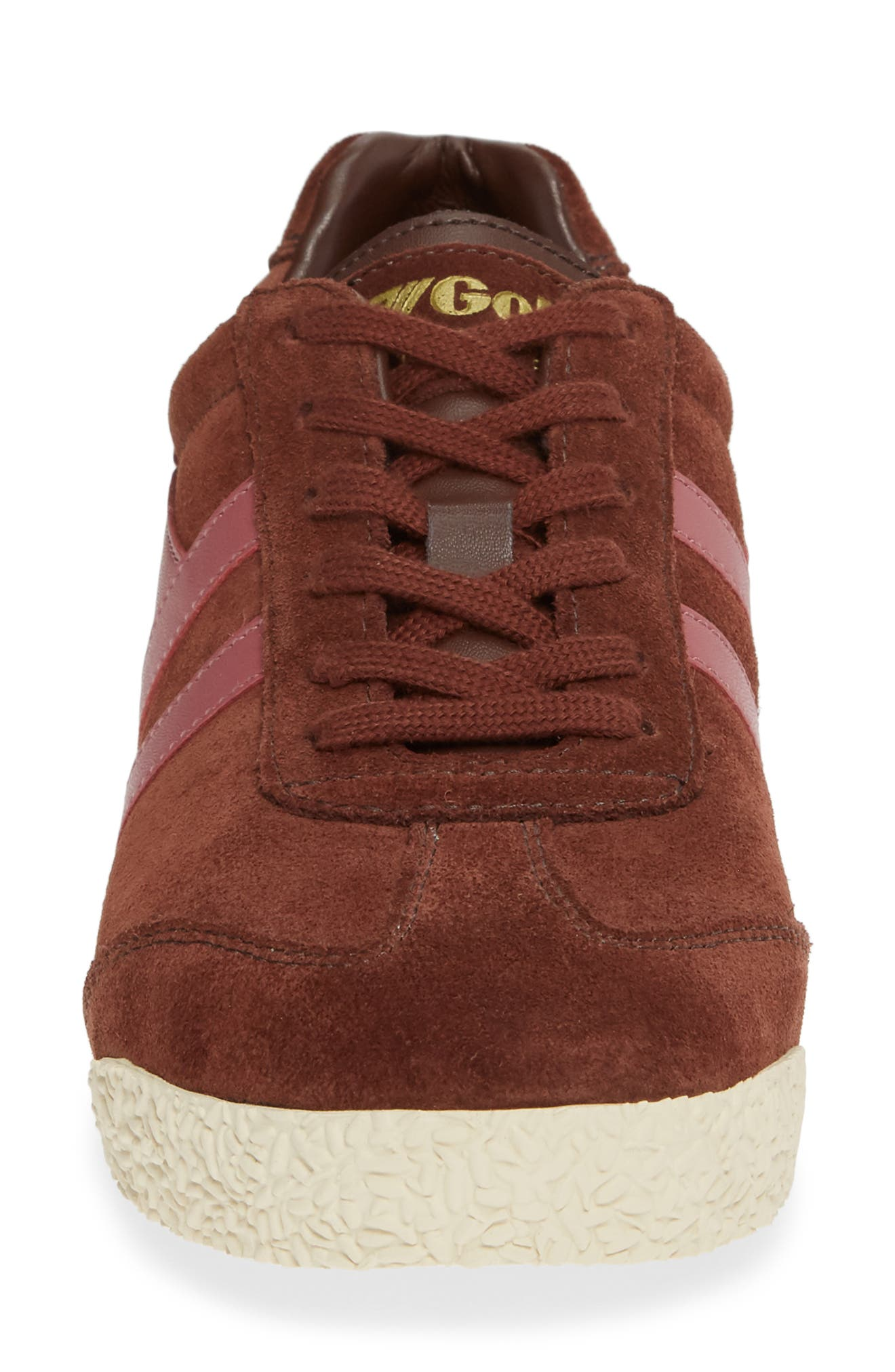 Harrier Suede Low Top Sneaker,                             Alternate thumbnail 4, color,                             COGNAC/ DUSTY ROSE