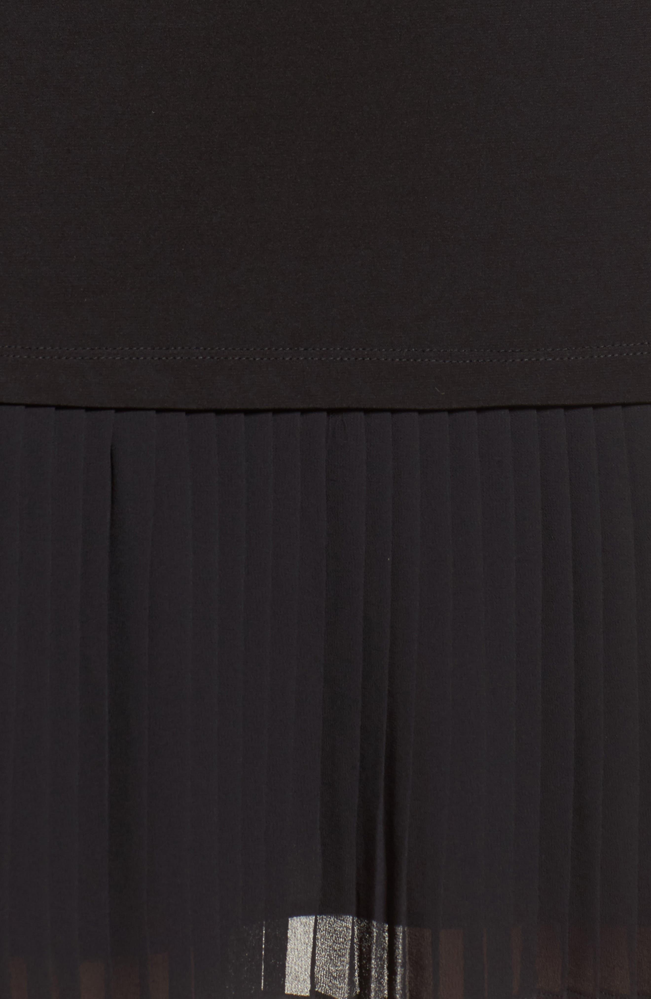 Pleat Chiffon Hem Jersey Dress,                             Alternate thumbnail 5, color,                             001