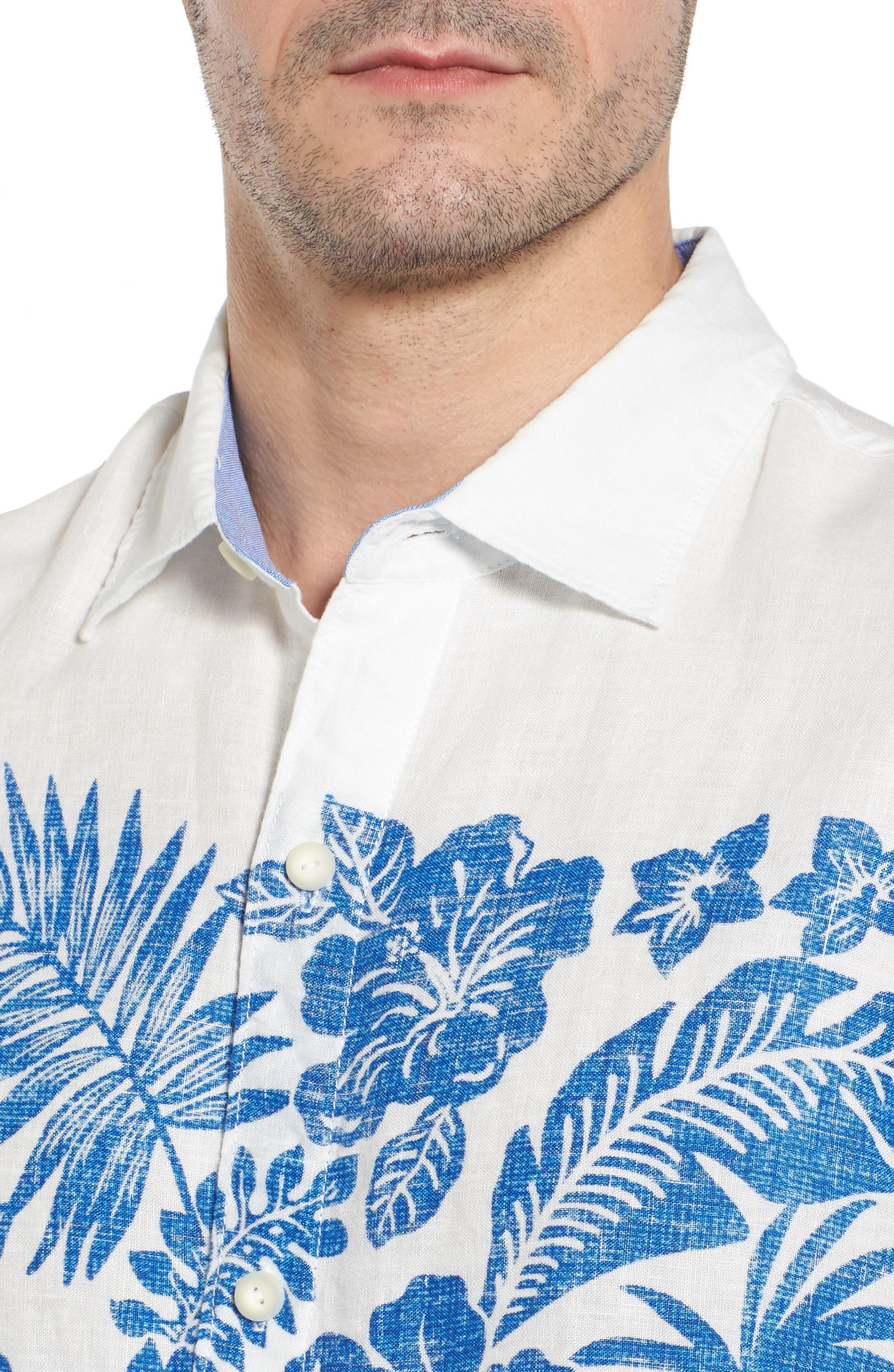 Waimea Wonder Linen Camp Shirt,                             Alternate thumbnail 4, color,                             101