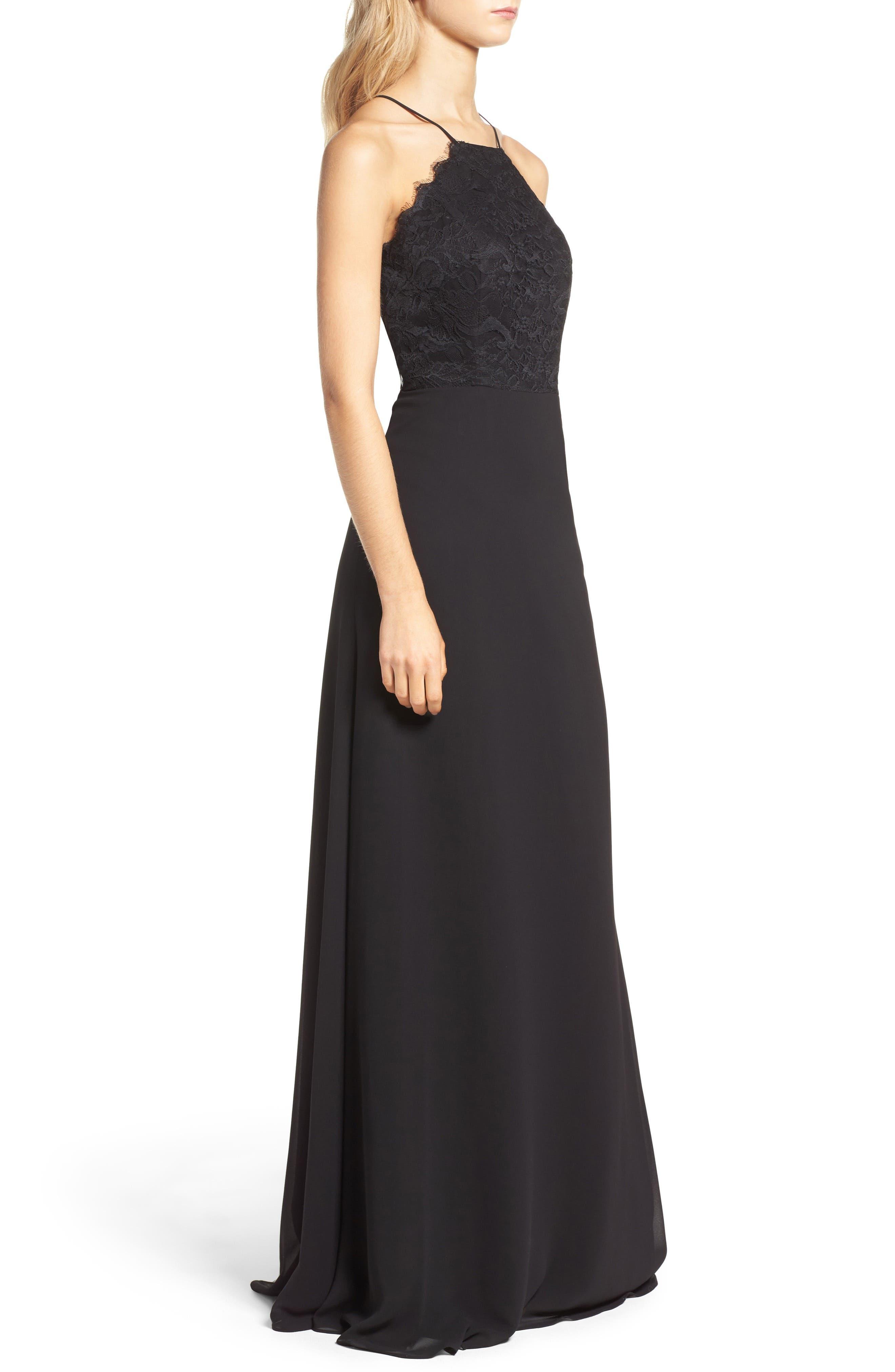 Lace Halter Gown,                             Alternate thumbnail 3, color,                             BLACK