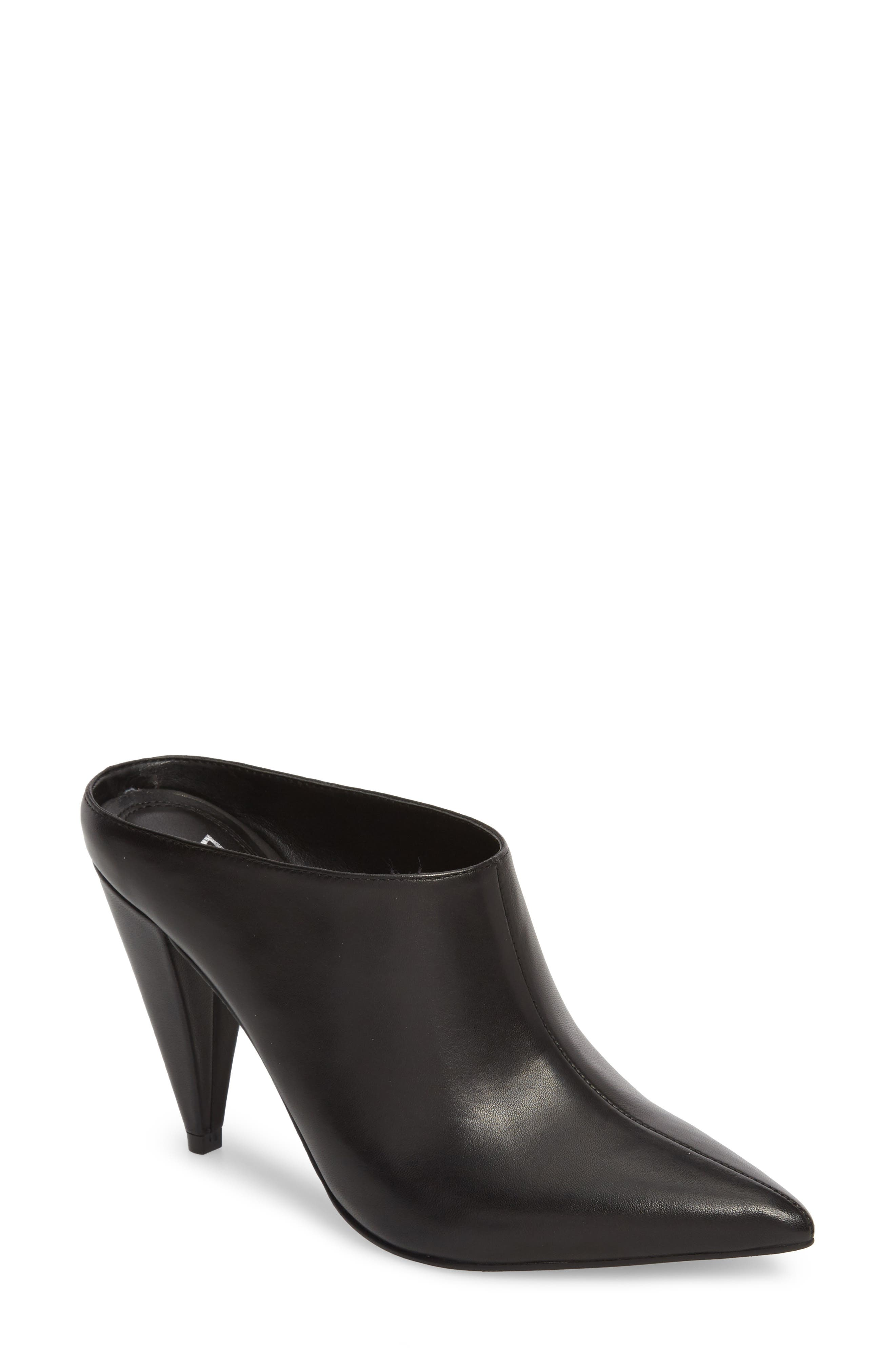 Harlie Pointy Toe Mule,                             Main thumbnail 1, color,                             BLACK LEATHER