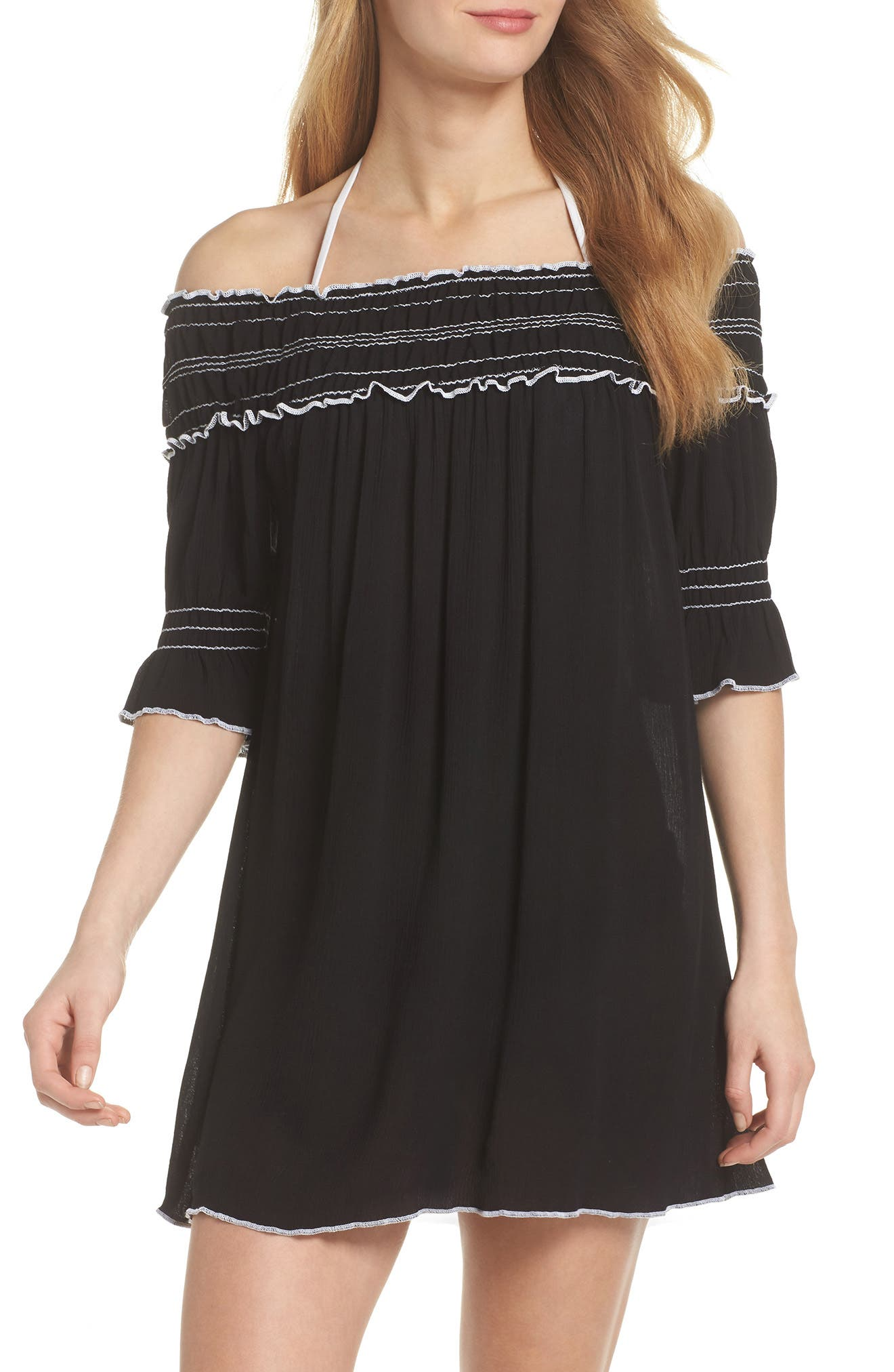Nightingale Off the Shoulder Cover-Up Dress,                             Main thumbnail 1, color,                             001