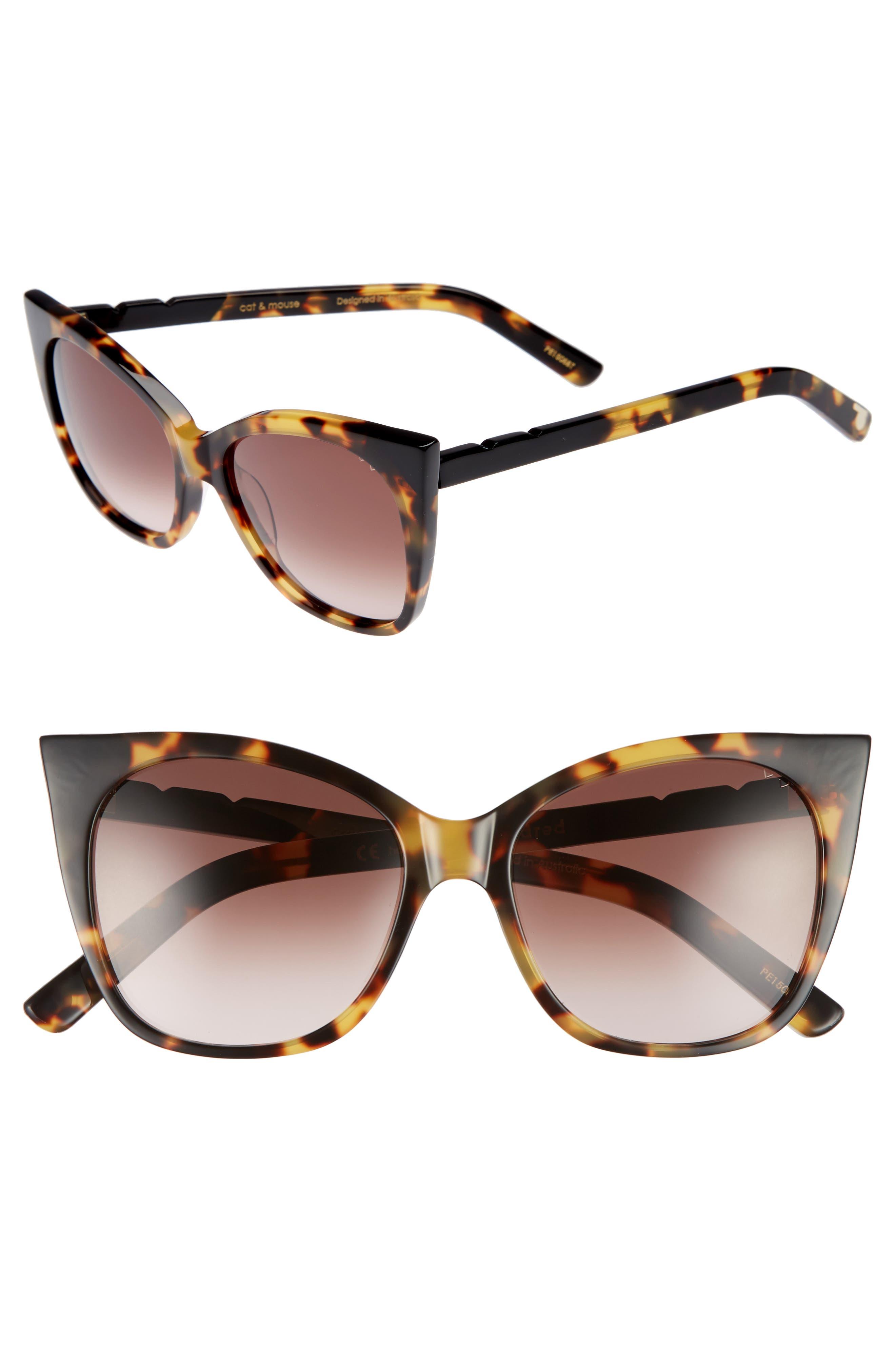 Cat & Mouse 51mm Cat Eye Sunglasses,                             Main thumbnail 1, color,                             DARK TORTOISE/ BLACK BROWN