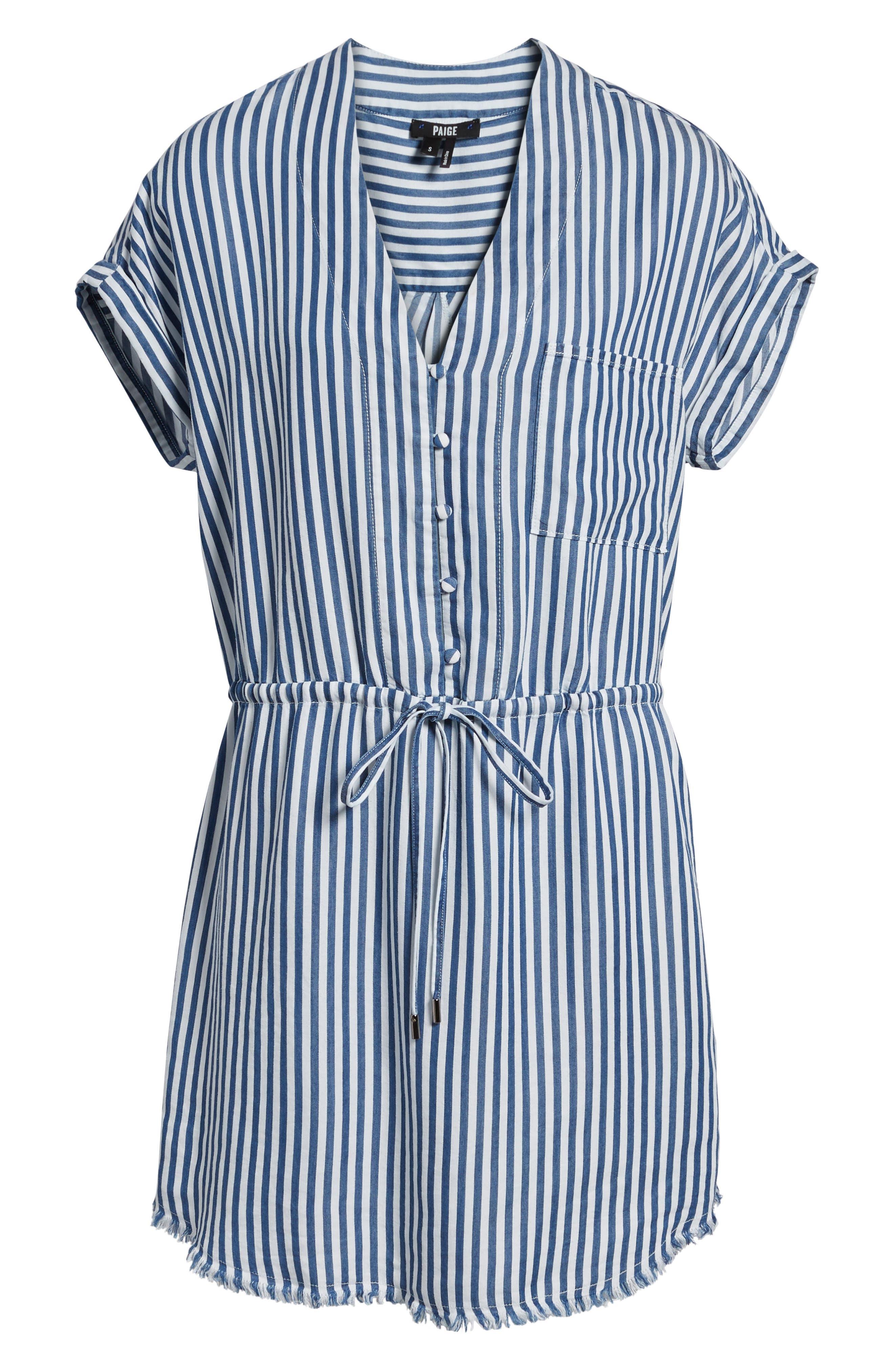 Haidee Stripe Shift Dress,                             Alternate thumbnail 7, color,                             WHITE/ BLUE BELL STRIPE