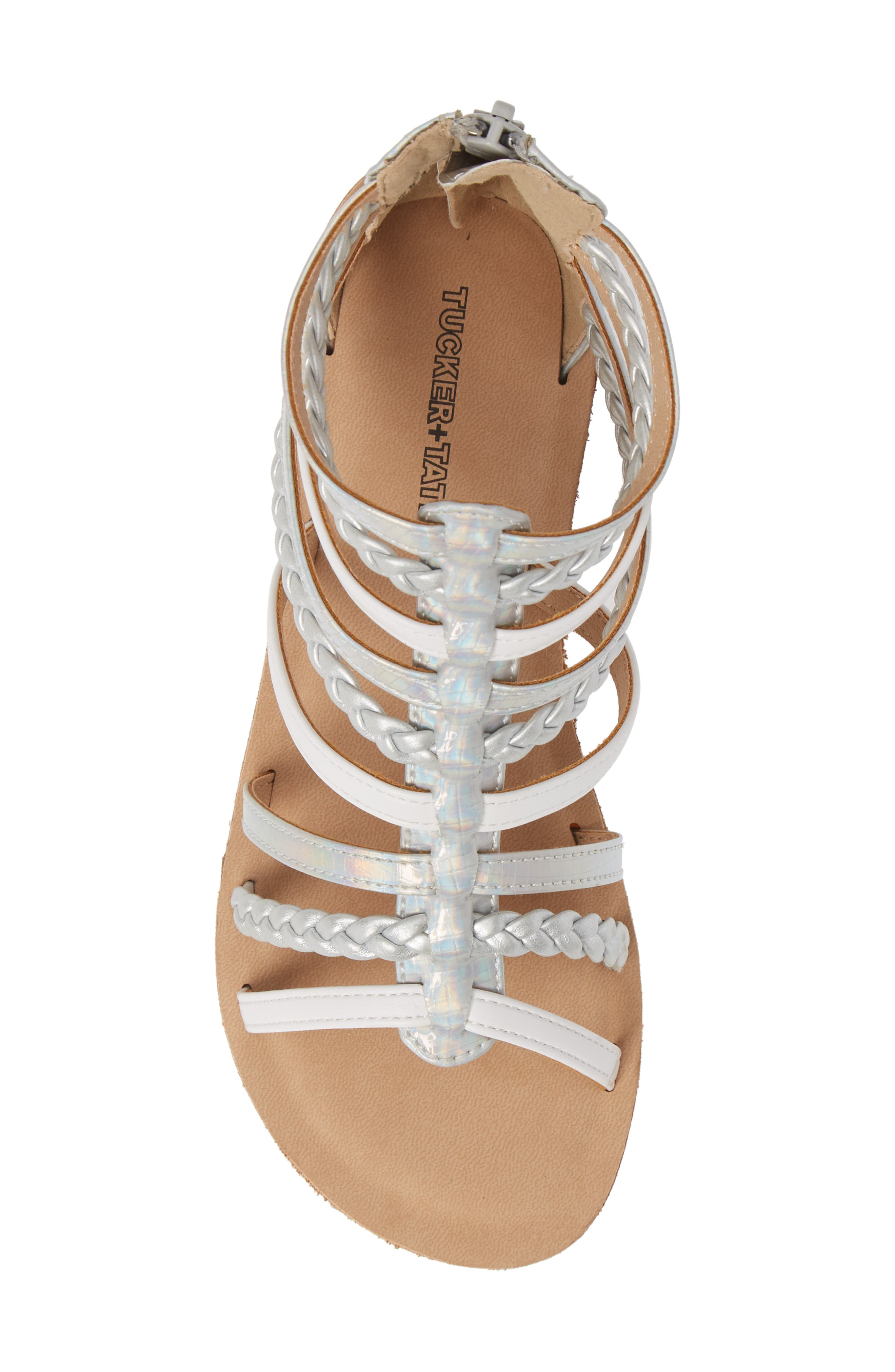 Sonja Braided Gladiator Sandal,                             Alternate thumbnail 5, color,                             WHITE/SILVER FAUX LEATHER