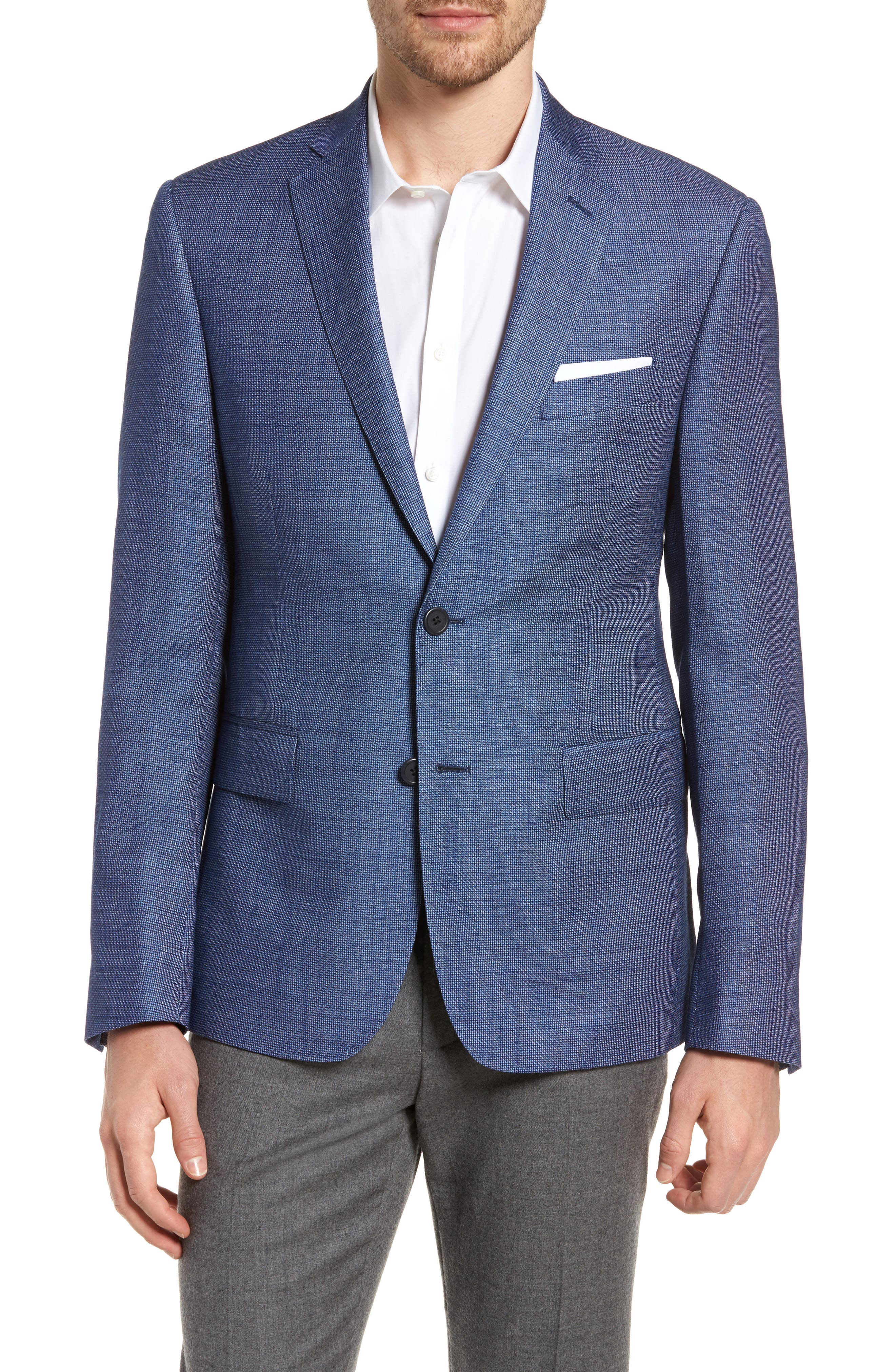 Extra Trim Fit Wool & Linen Blazer,                             Main thumbnail 1, color,                             401