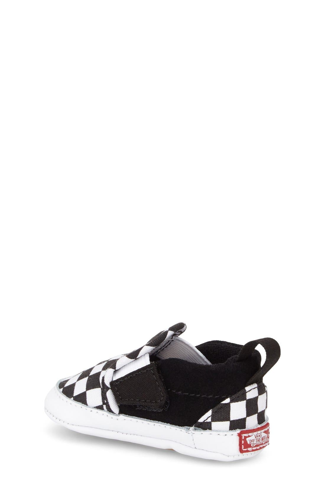 Slip-On Crib Shoe,                             Alternate thumbnail 3, color,                             CHECKER BLACK TRUE WHITE