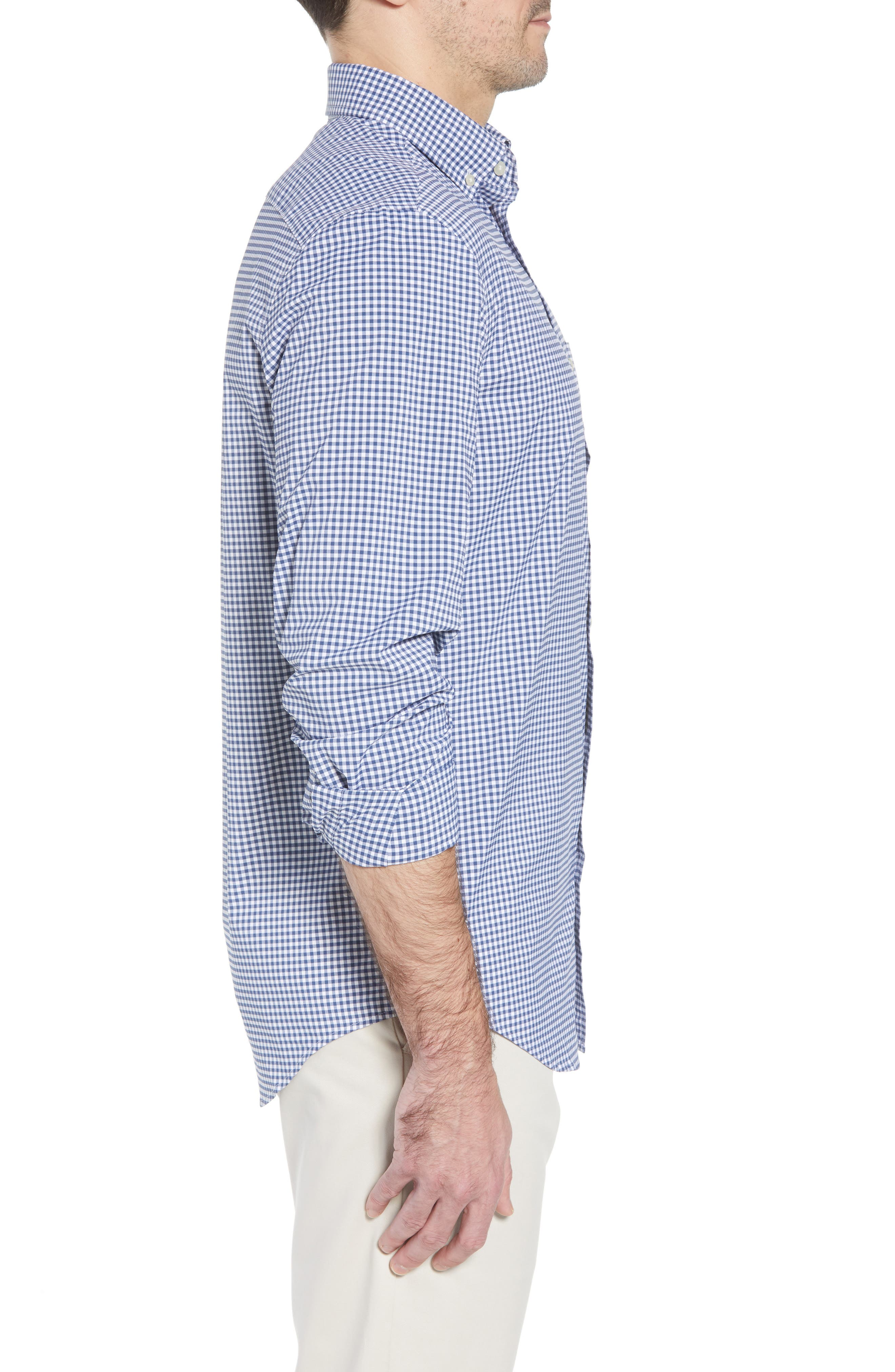 Grand Cay Tucker Regular Fit Gingham Performance Sport Shirt,                             Alternate thumbnail 3, color,                             MOONSHINE