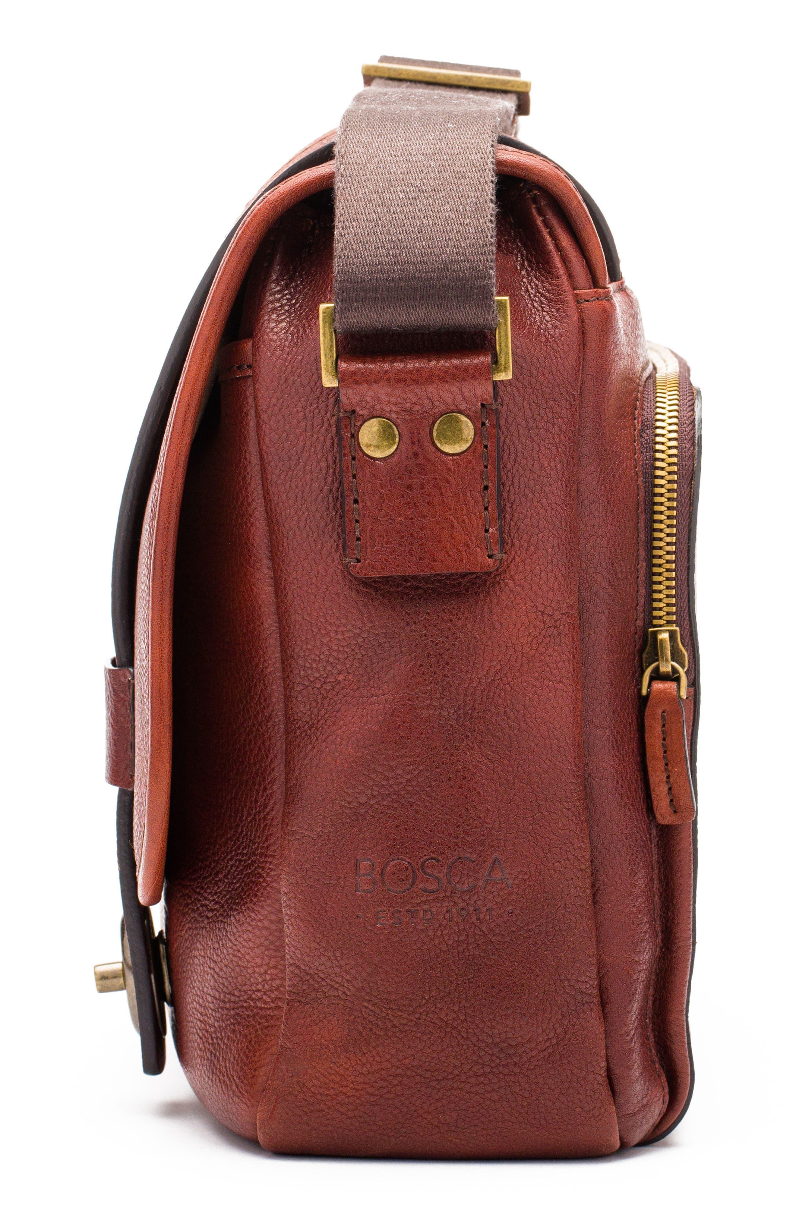 Leather Messenger Bag,                             Alternate thumbnail 4, color,                             DARK BROWN