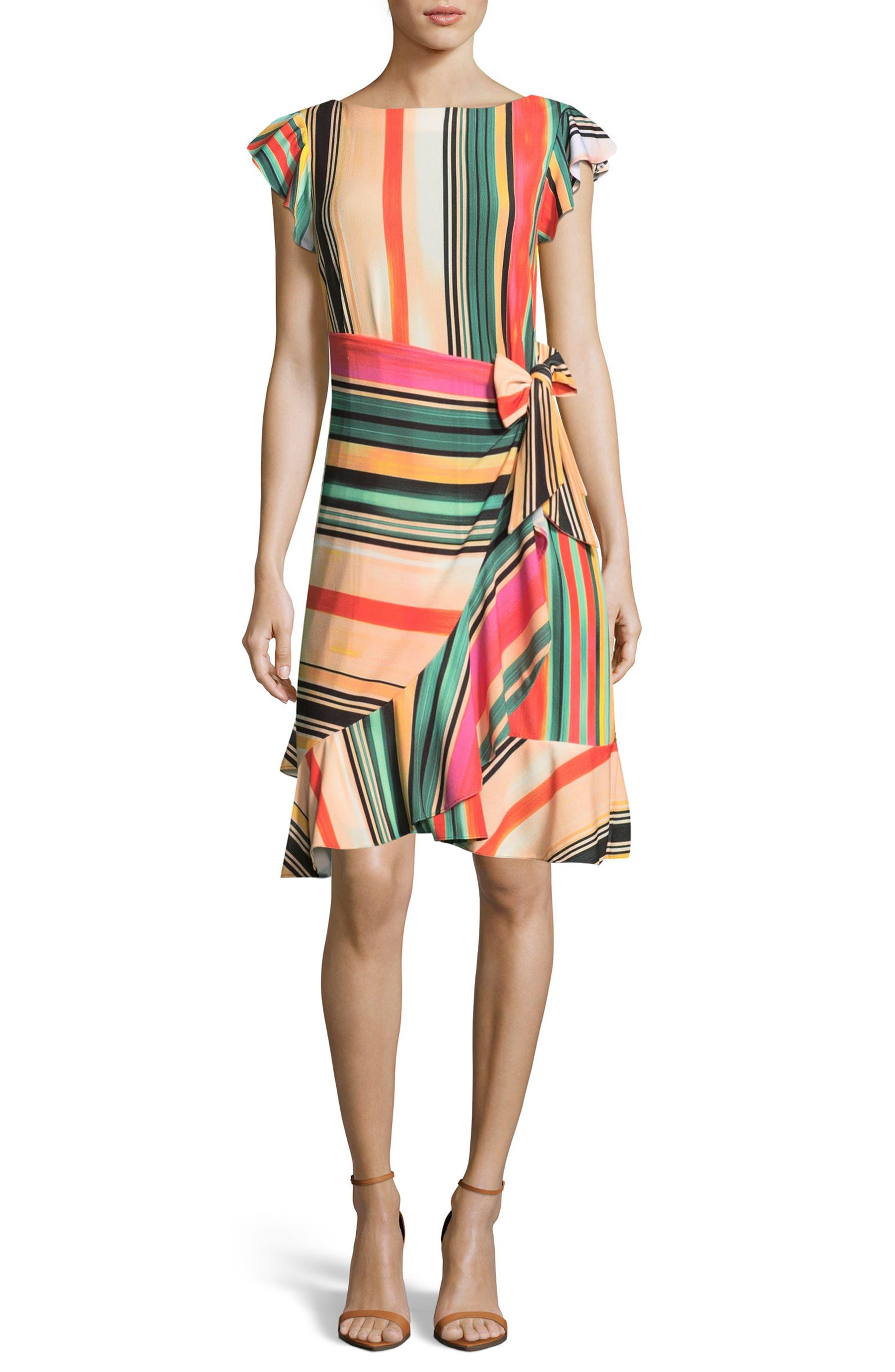 Eci Multi Stripe Front Wrap Dress, Orange
