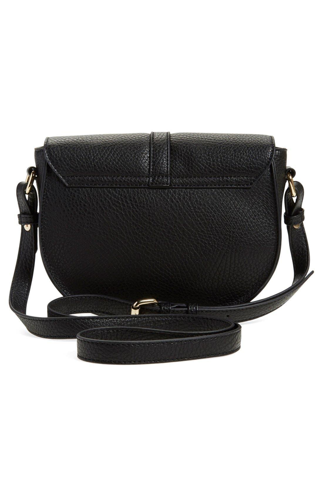 Faux Leather Saddle Crossbody Bag,                             Alternate thumbnail 2, color,                             001