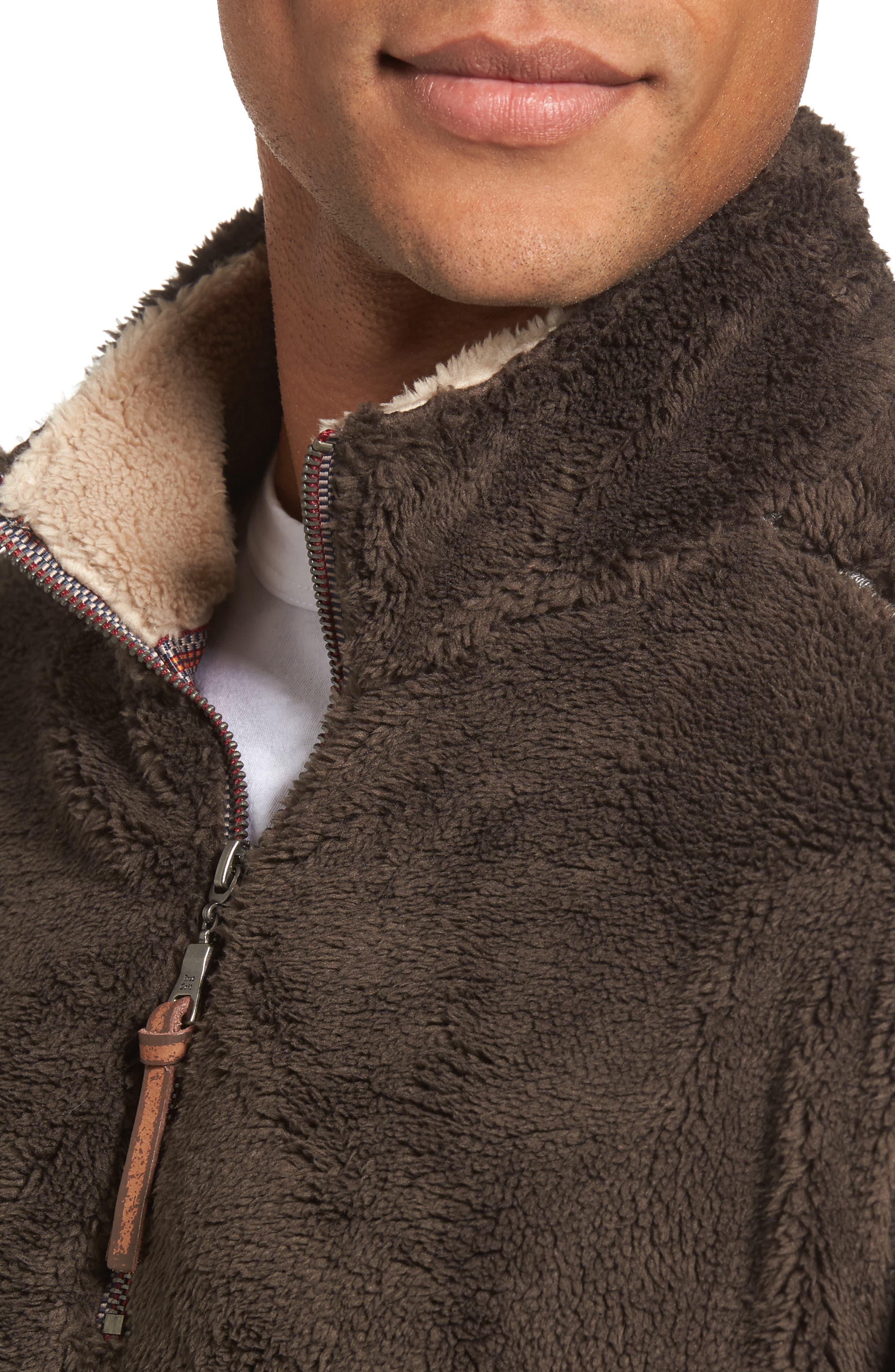 Pebble Pile Quarter Zip Pullover,                             Alternate thumbnail 4, color,                             VINTAGE BR