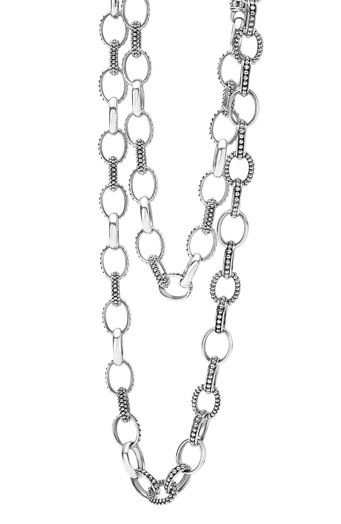 'Link' Caviar Chain Necklace,                             Alternate thumbnail 3, color,                             SILVER
