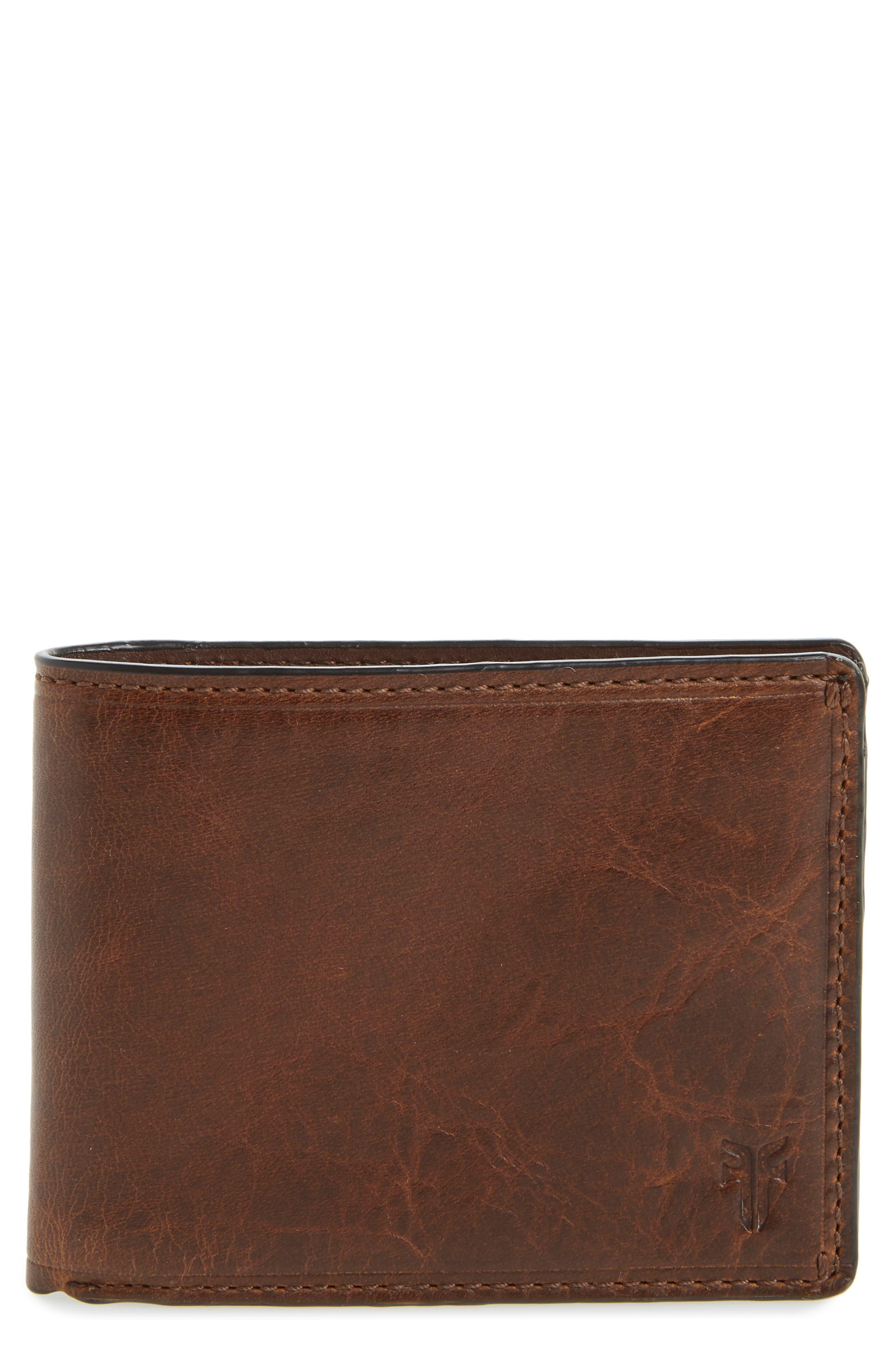 Logan Leather Wallet,                             Main thumbnail 1, color,                             DARK BROWN