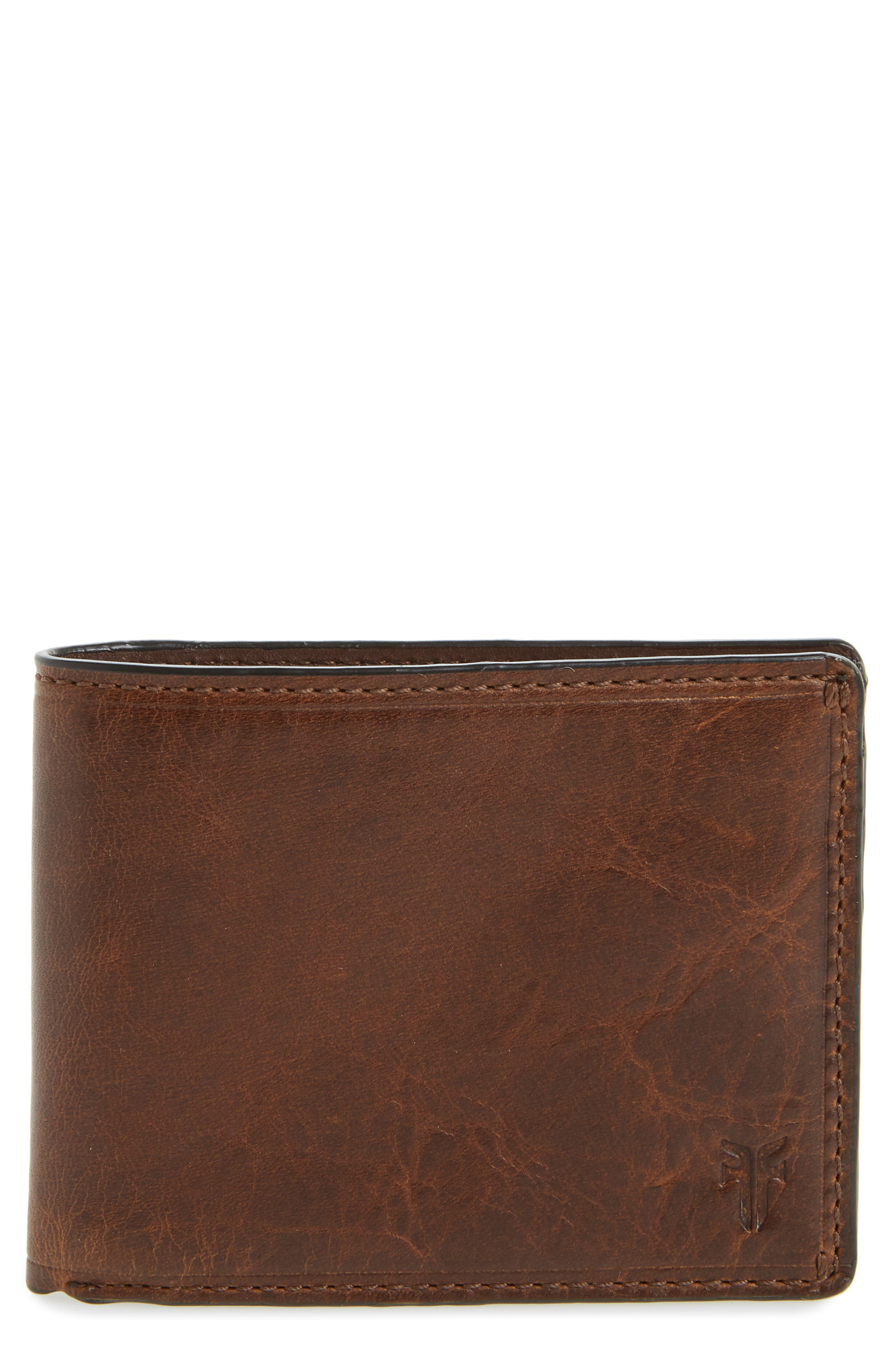Logan Leather Wallet,                         Main,                         color, DARK BROWN