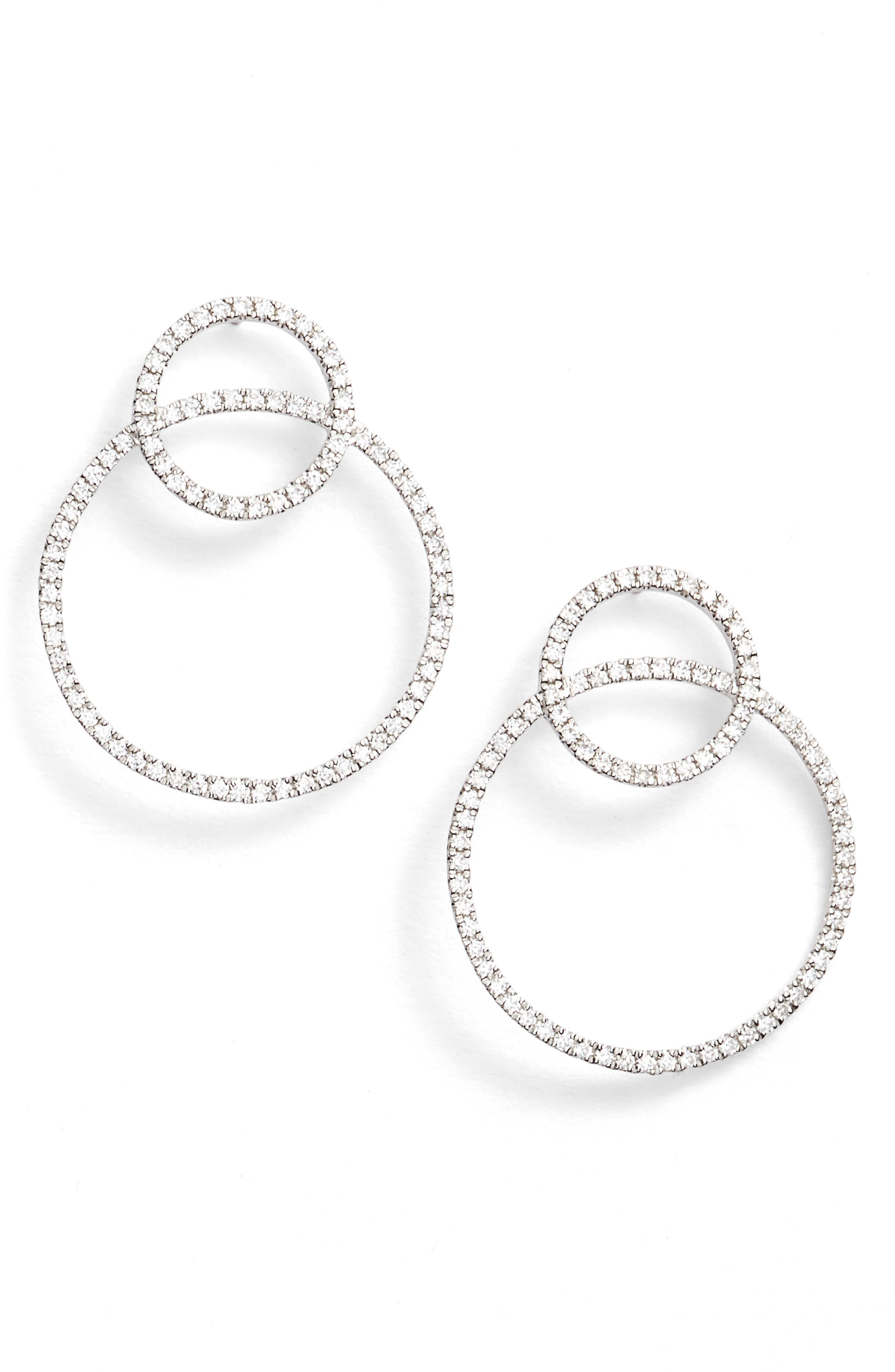 Prism Double Circle Diamond Earrings,                         Main,                         color, WHITE GOLD