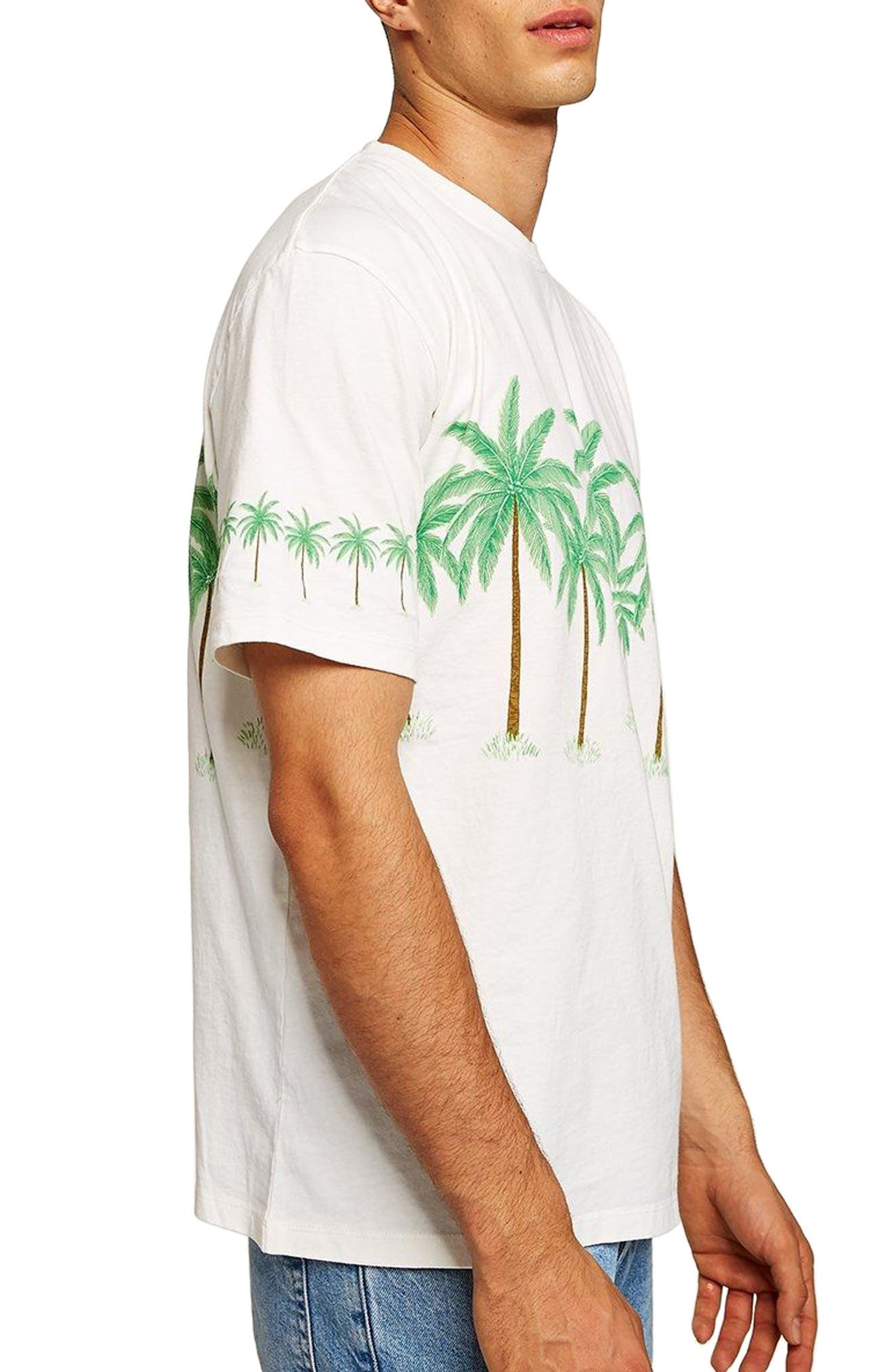 Oversize Palm Trees Graphic T-Shirt,                         Main,                         color, CREAM MULTI