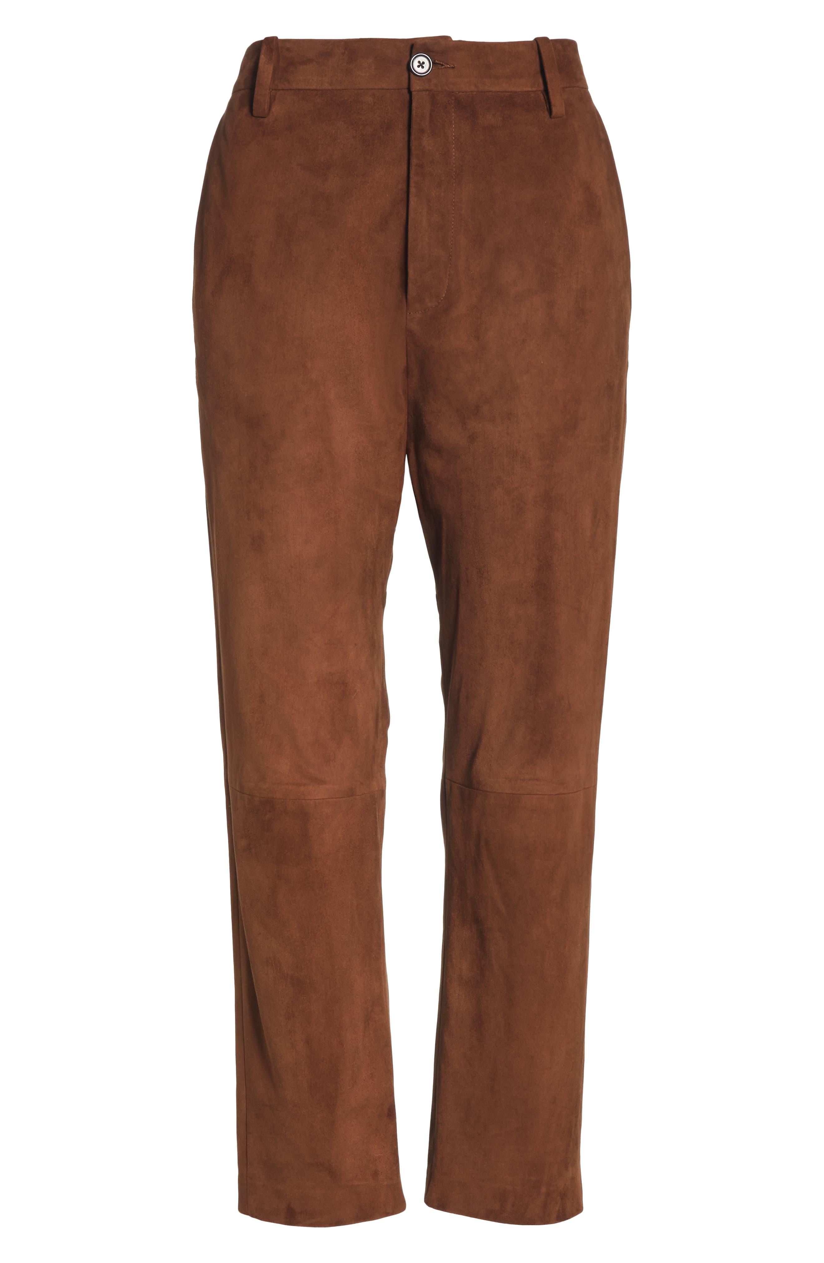 NILI LOTAN,                             Paris Leather Pants,                             Alternate thumbnail 7, color,                             DARK COGNAC