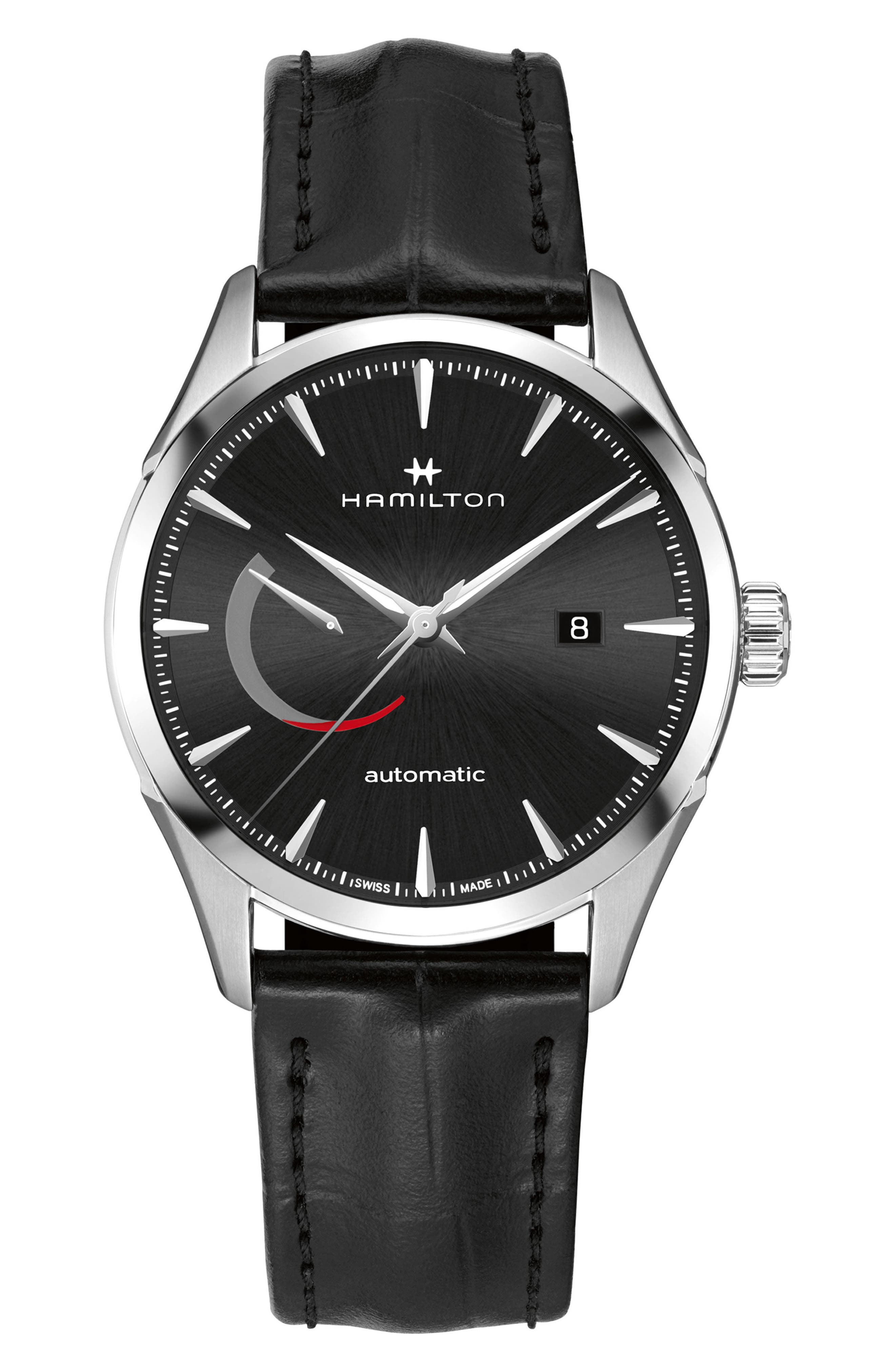 Jazzmaster Automatic Leather Strap Watch, 42mm,                         Main,                         color, BLACK/ SILVER/ BLACK