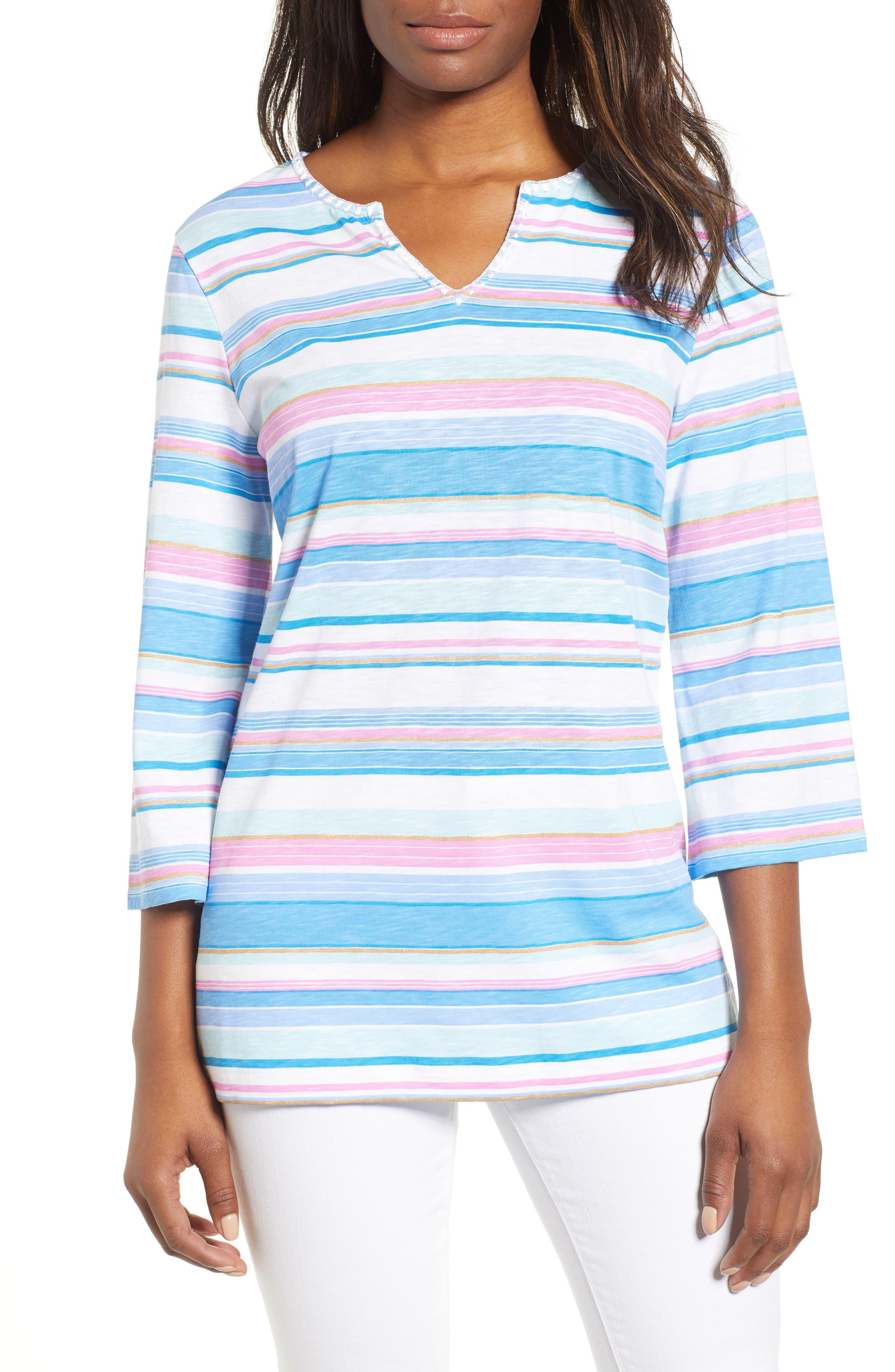 Festival Stripe Bell Sleeve Pima Cotton Top,                         Main,                         color, BLUE ASTER