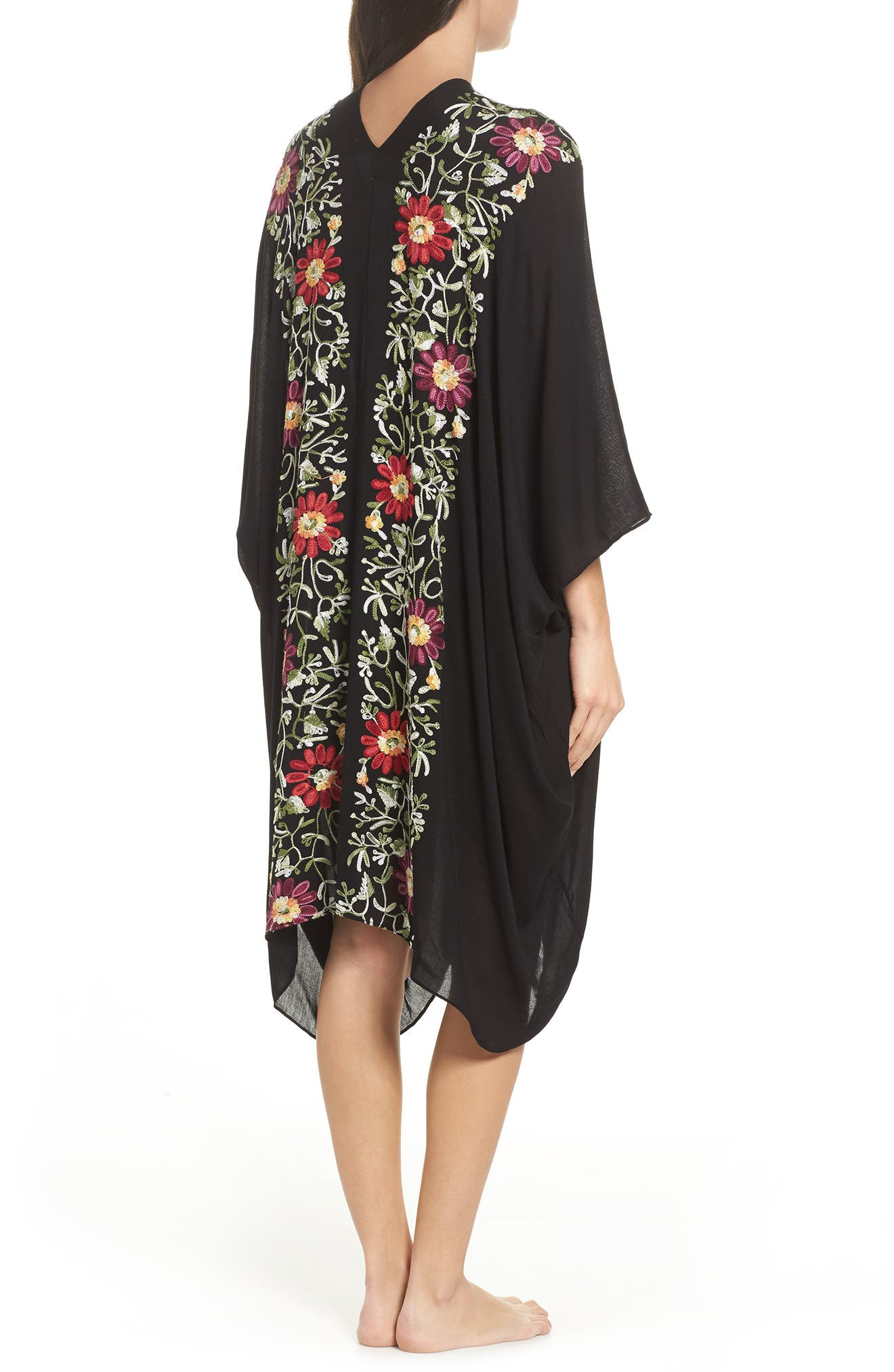 Embroidered Cover-Up Kimono,                             Alternate thumbnail 2, color,                             BLACK