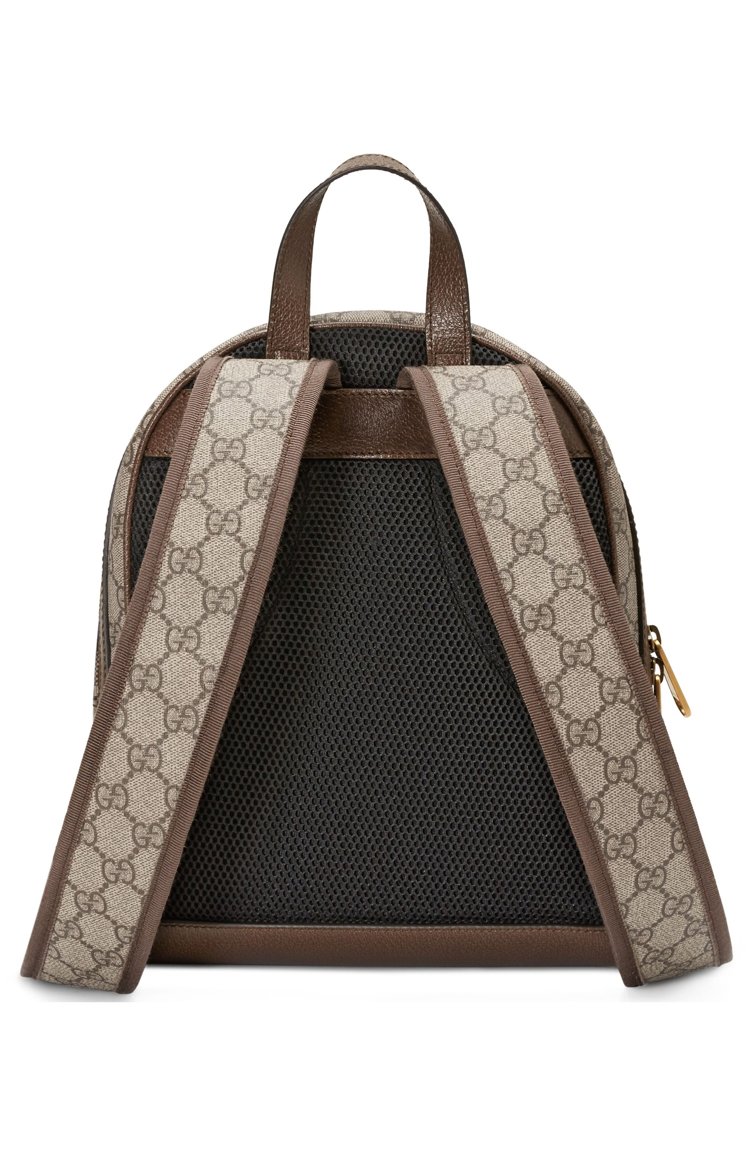 Small Ophidia GG Supreme Canvas Backpack,                             Alternate thumbnail 2, color,                             BEIGE EBONY/ NEW ACERO