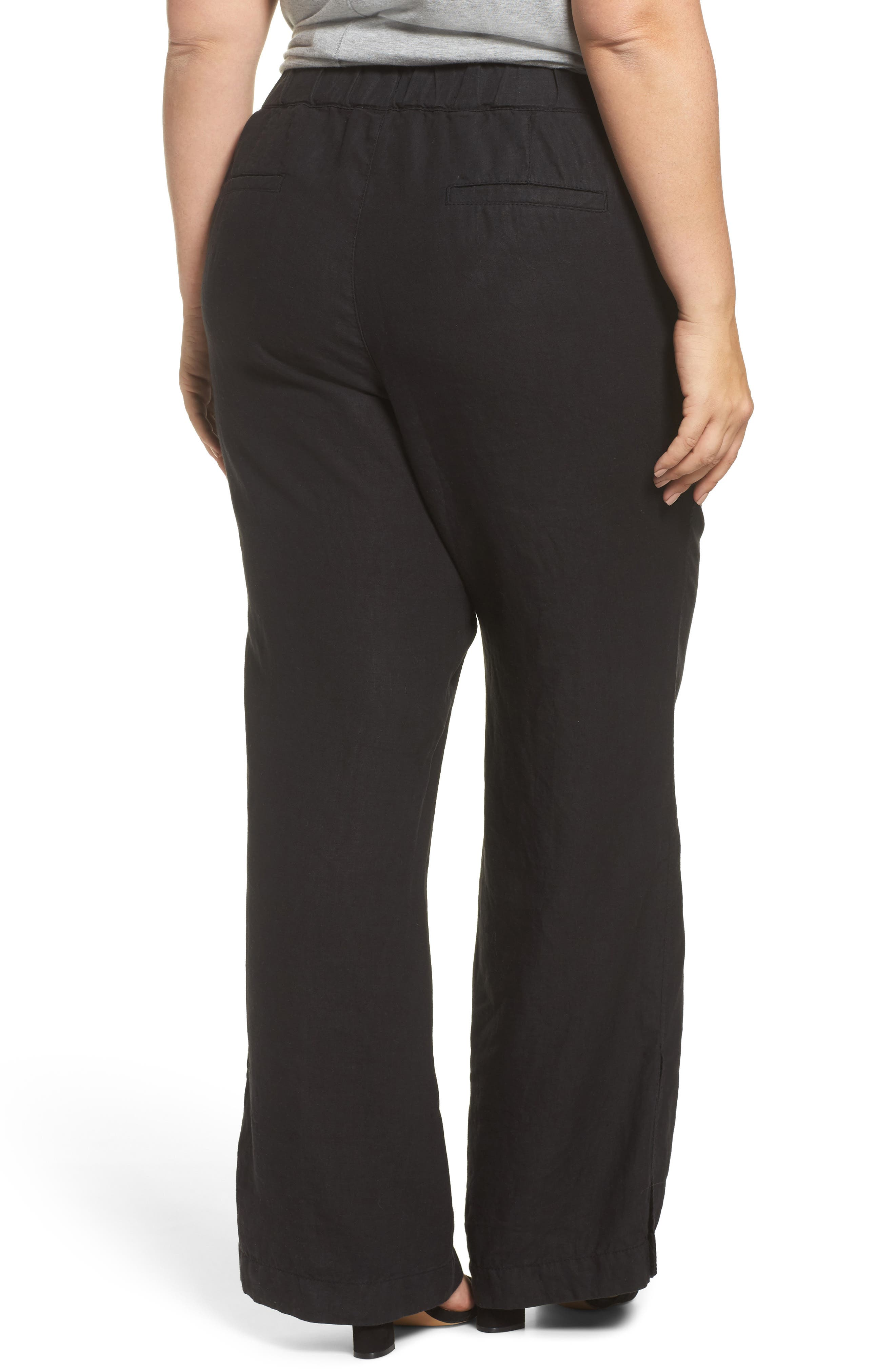 Linen Track Pants,                             Alternate thumbnail 2, color,                             001