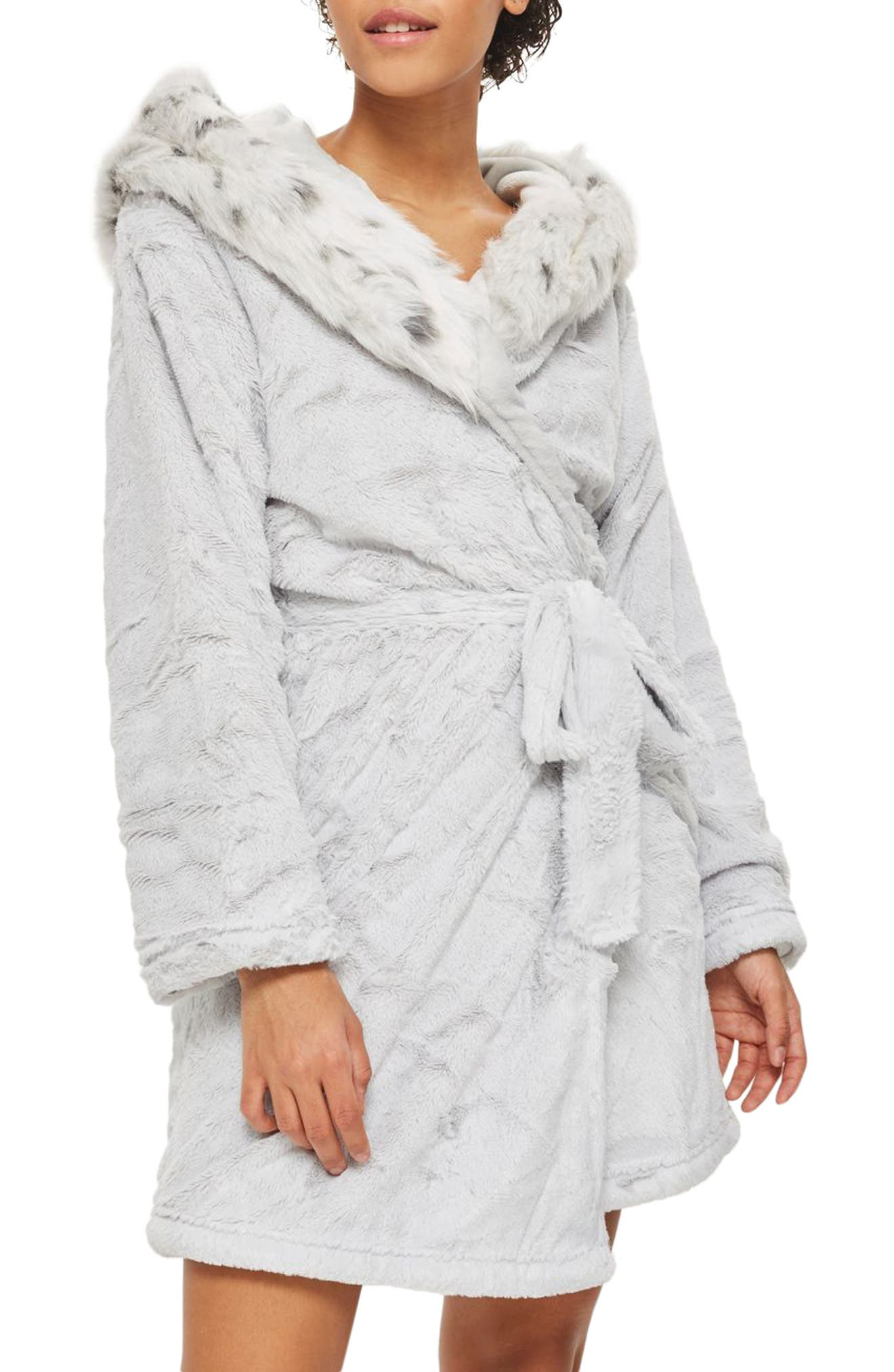 Faux Fur Hooded Short Robe,                         Main,                         color, 020