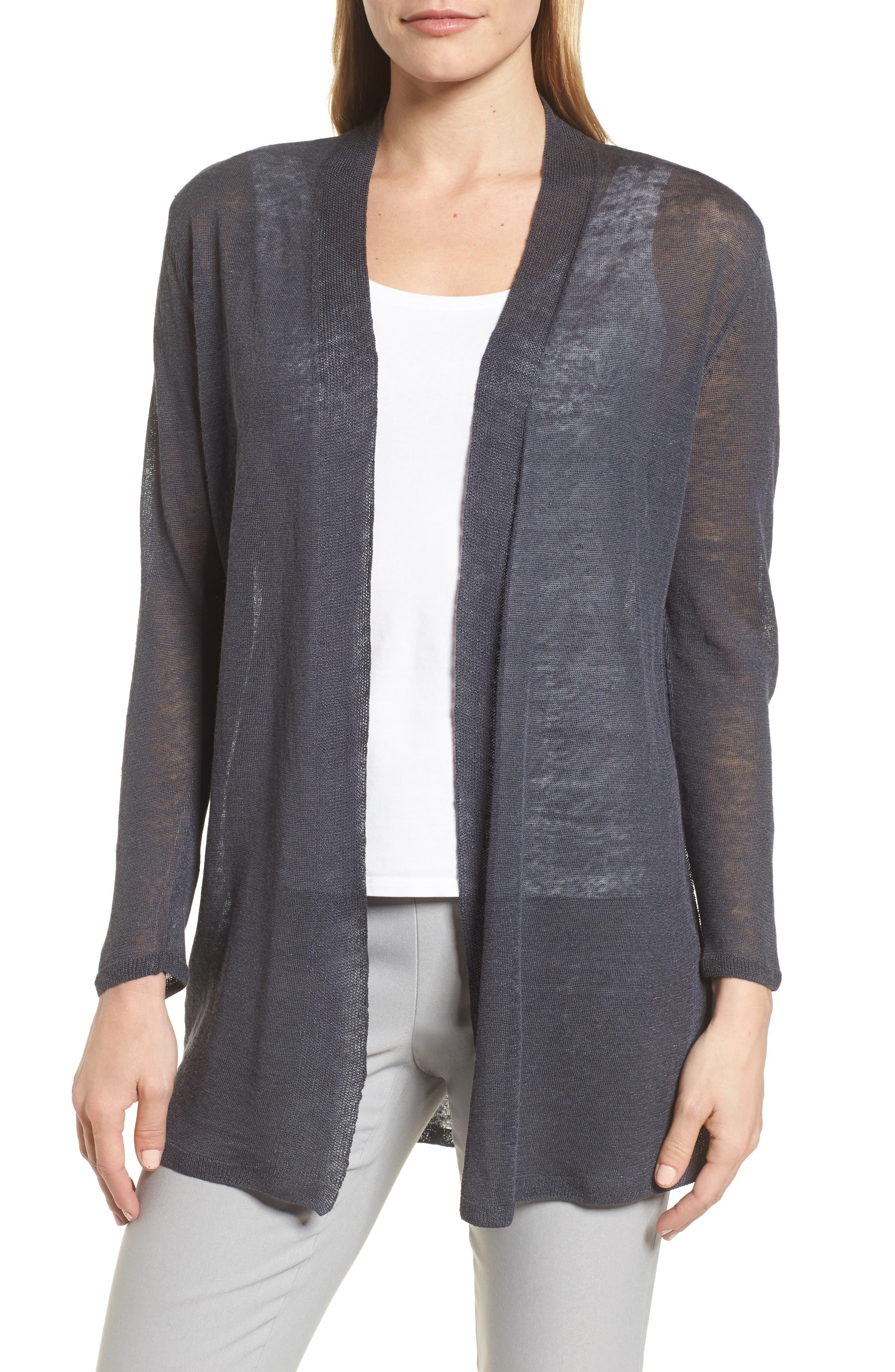 Long Linen Blend Cardigan,                         Main,                         color, 099