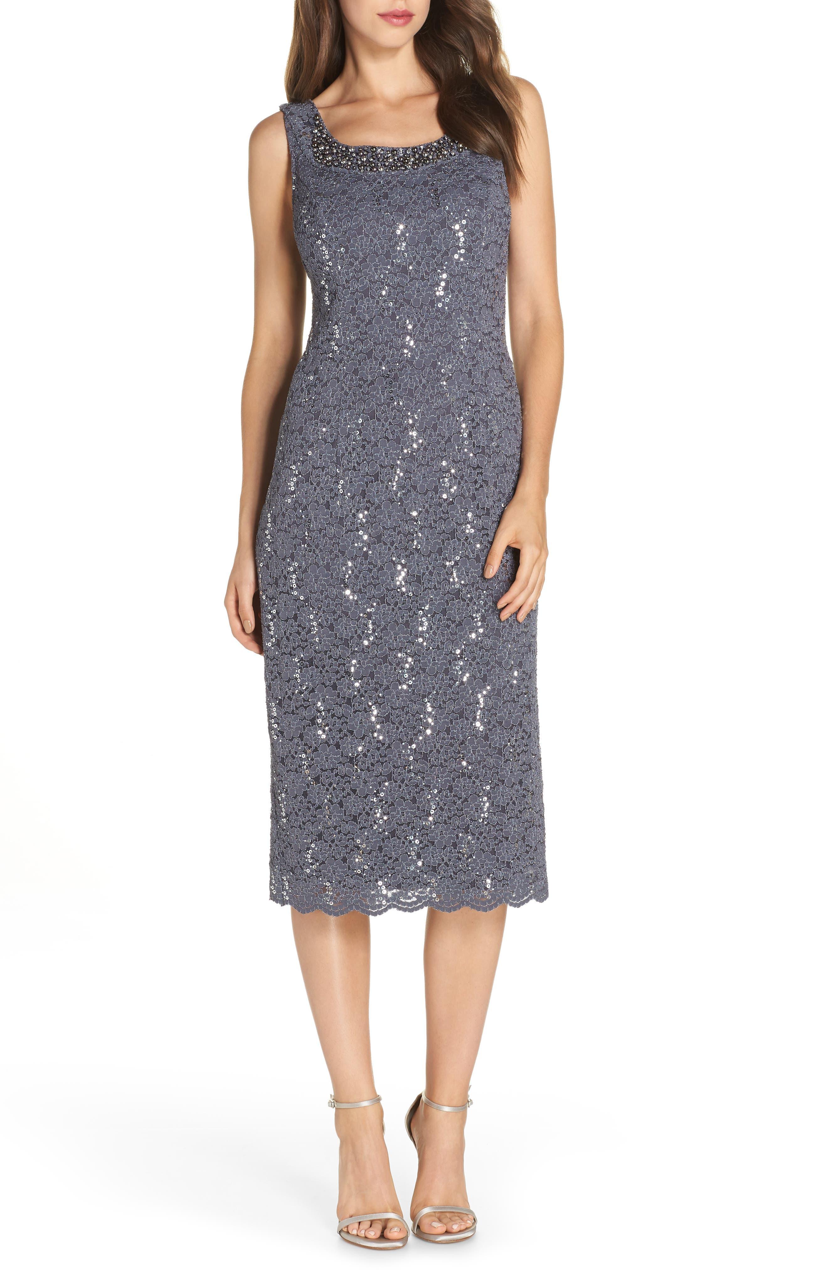 Sequin Lace Dress & Jacket,                             Alternate thumbnail 3, color,                             SMOKE