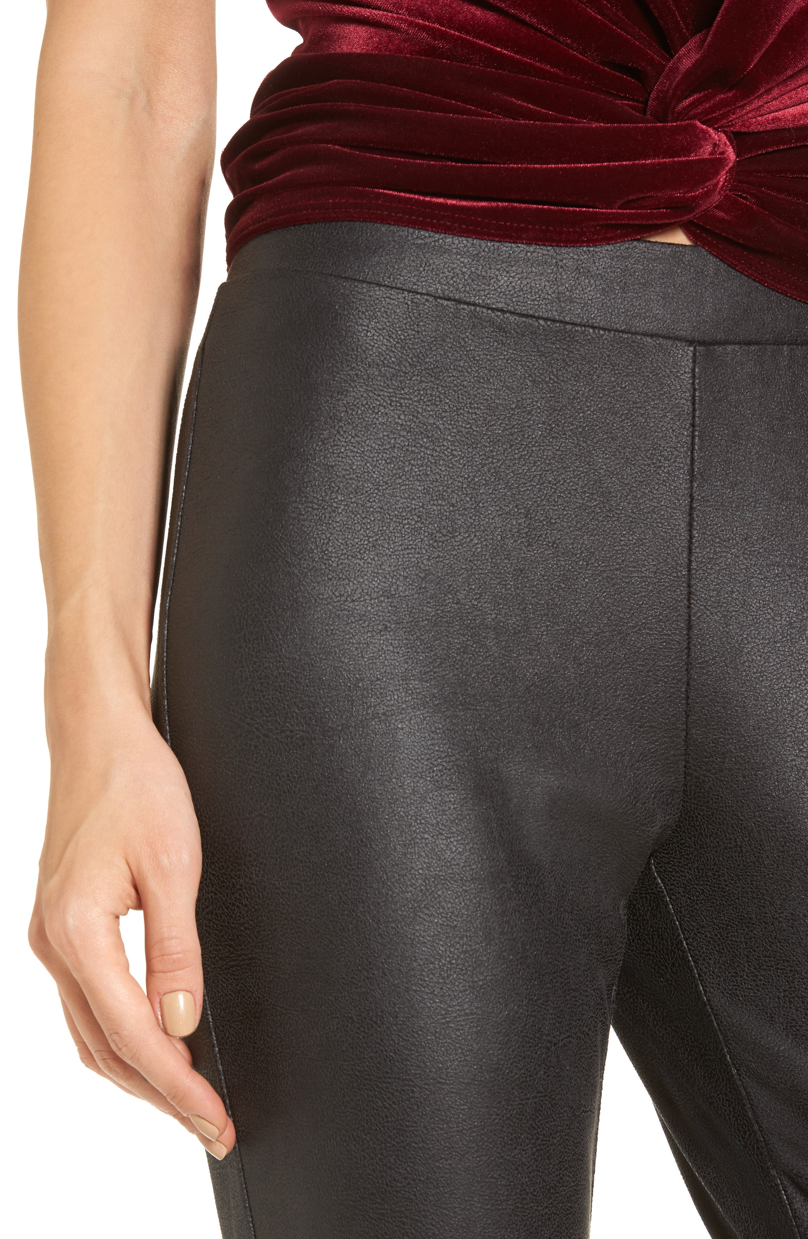 Faux Leather Leggings,                             Alternate thumbnail 4, color,                             001