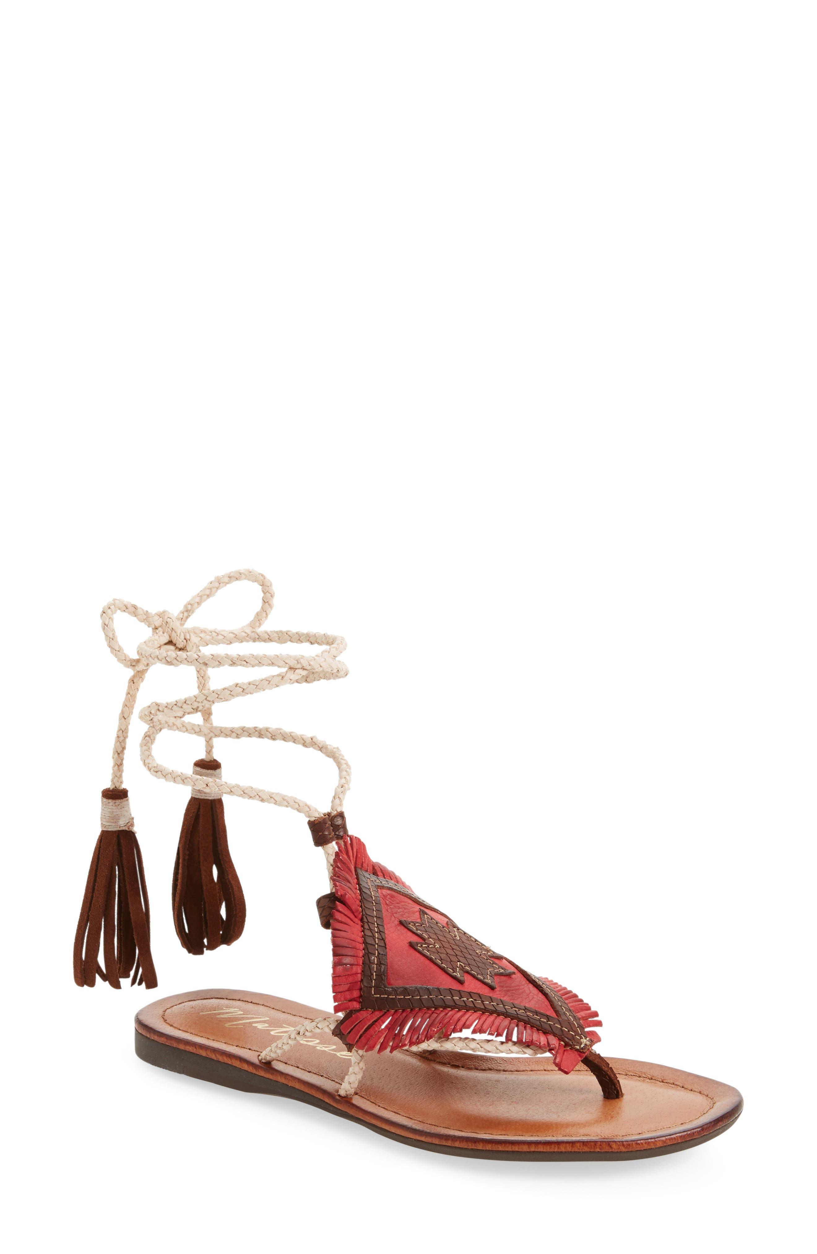 Bronte Tassel Lace-Up Sandal,                             Main thumbnail 2, color,