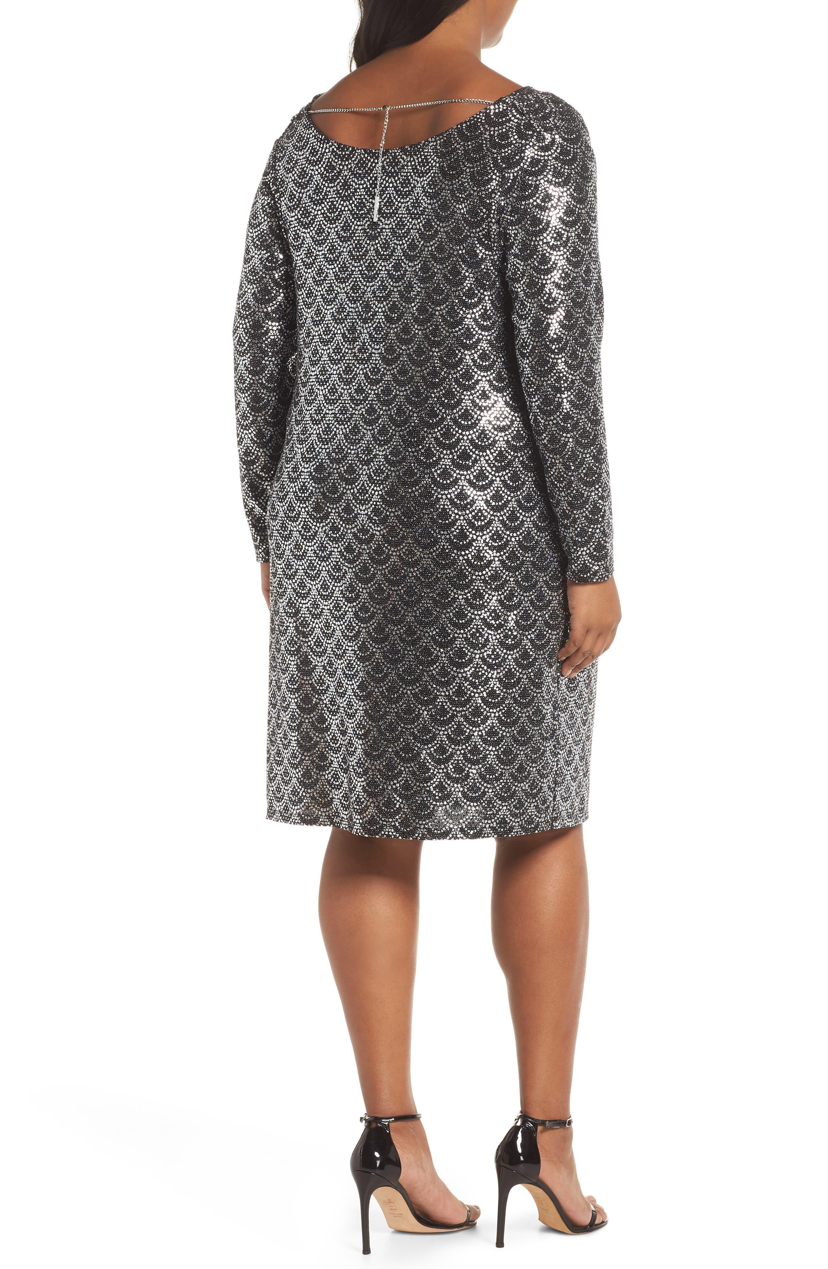 Glitter Knit Shift Dress,                             Alternate thumbnail 2, color,                             001