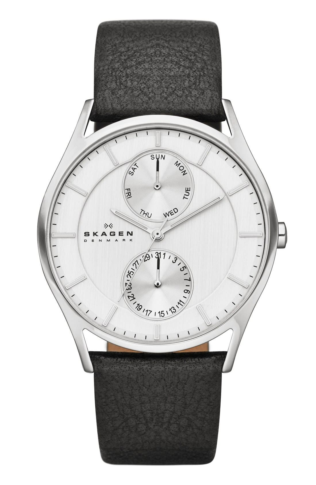 SKAGEN 'Holst' Multifunction Leather Strap Watch, 40mm, Main, color, 001