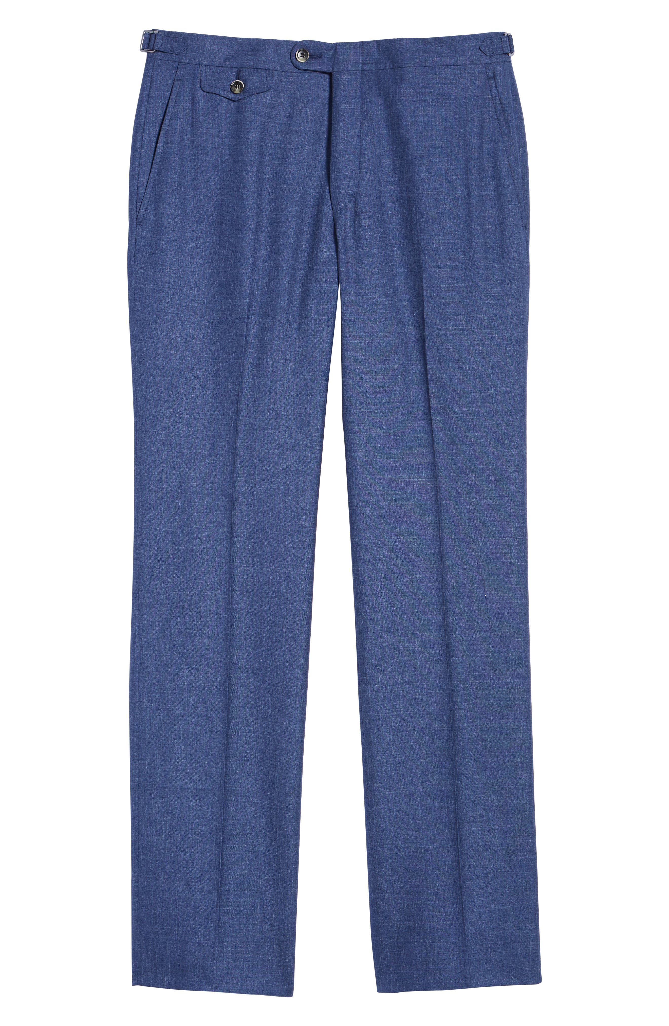 B Fit Flat Front Solid Wool Blend Trousers,                             Alternate thumbnail 6, color,                             BLUE SOLID