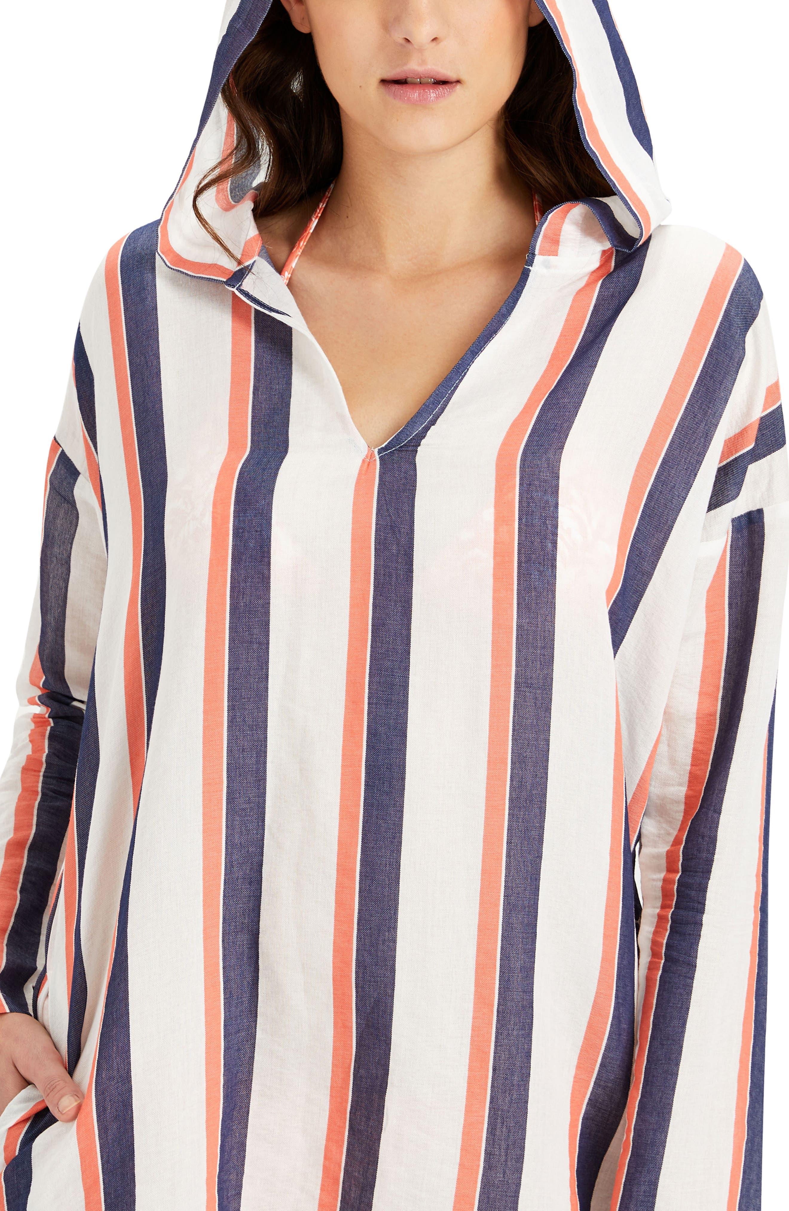 Sophia Stripe Hooded Cover-Up Tunic,                             Alternate thumbnail 2, color,                             822
