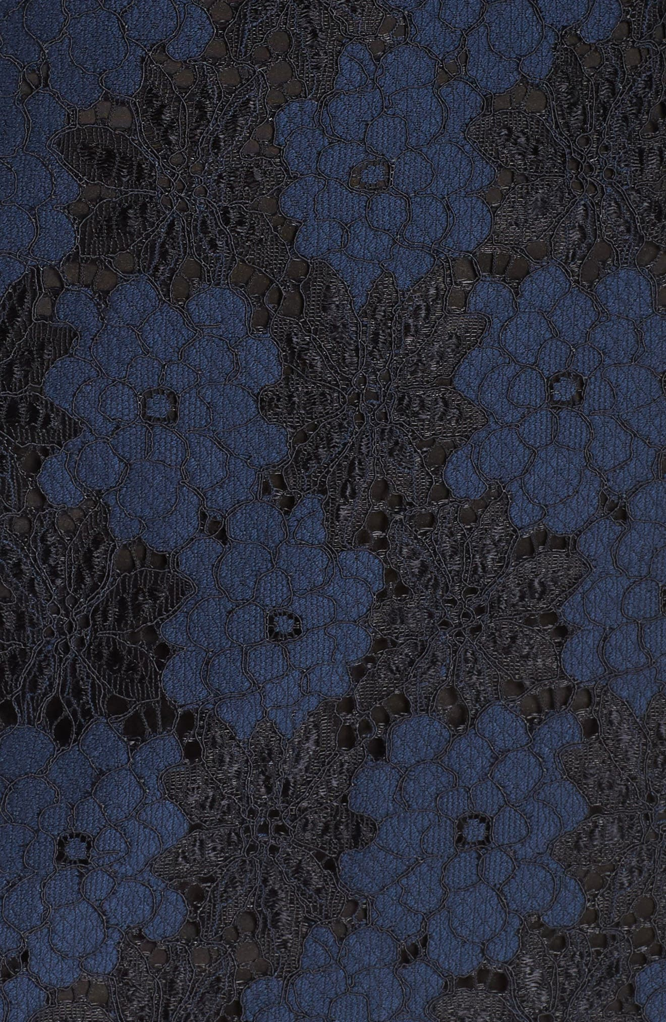 Two-Tone Lace Shift Dress,                             Alternate thumbnail 5, color,                             BLACK/ BLUE FLOWER
