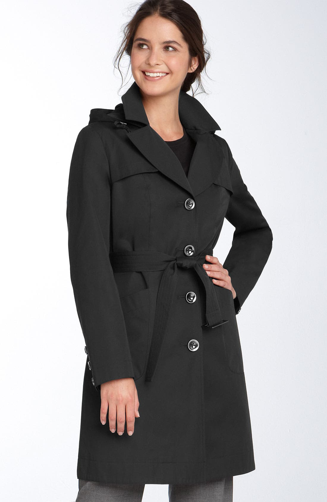 Split Lapel Trench Coat,                         Main,                         color, 001