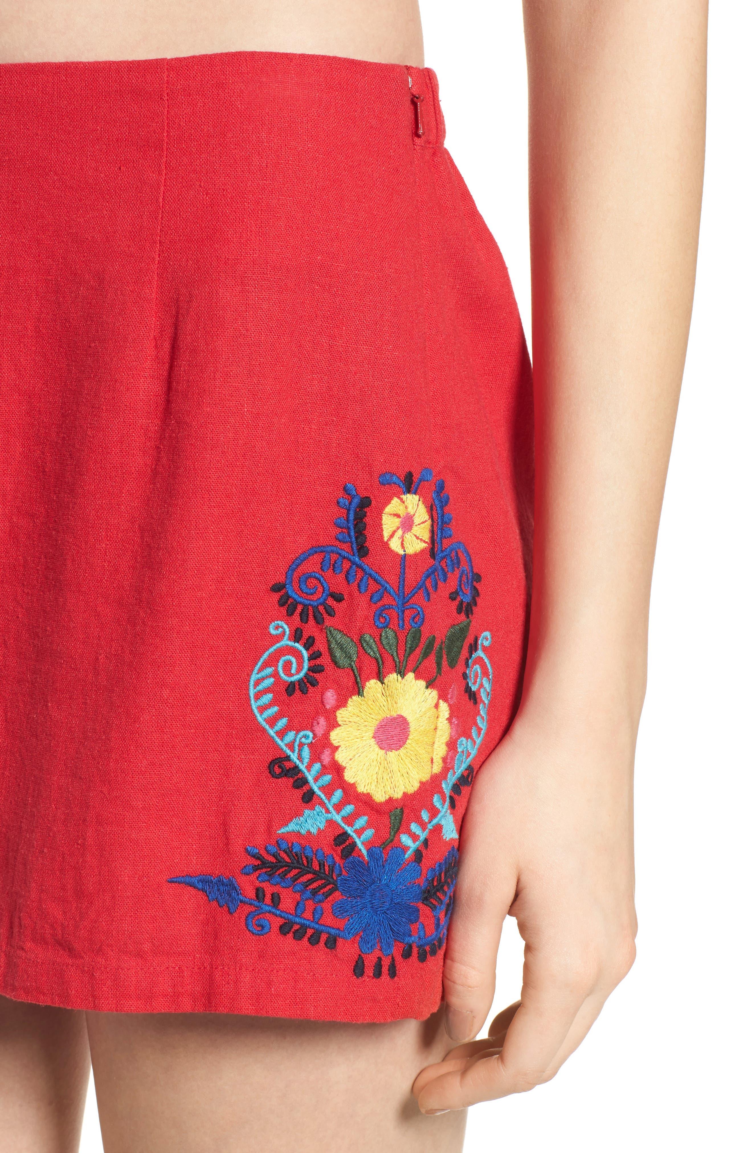Embroidered Linen Blend Shorts,                             Alternate thumbnail 4, color,                             610