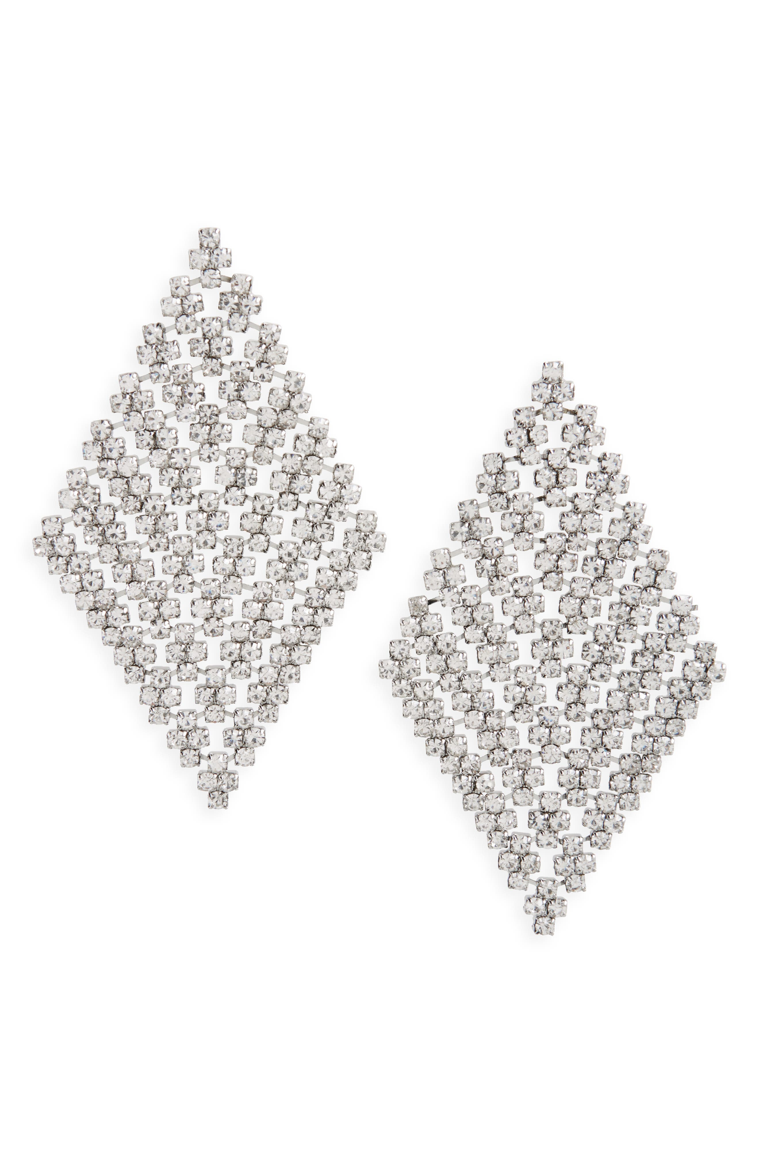 Crystal Mesh Drop Earrings,                             Main thumbnail 1, color,