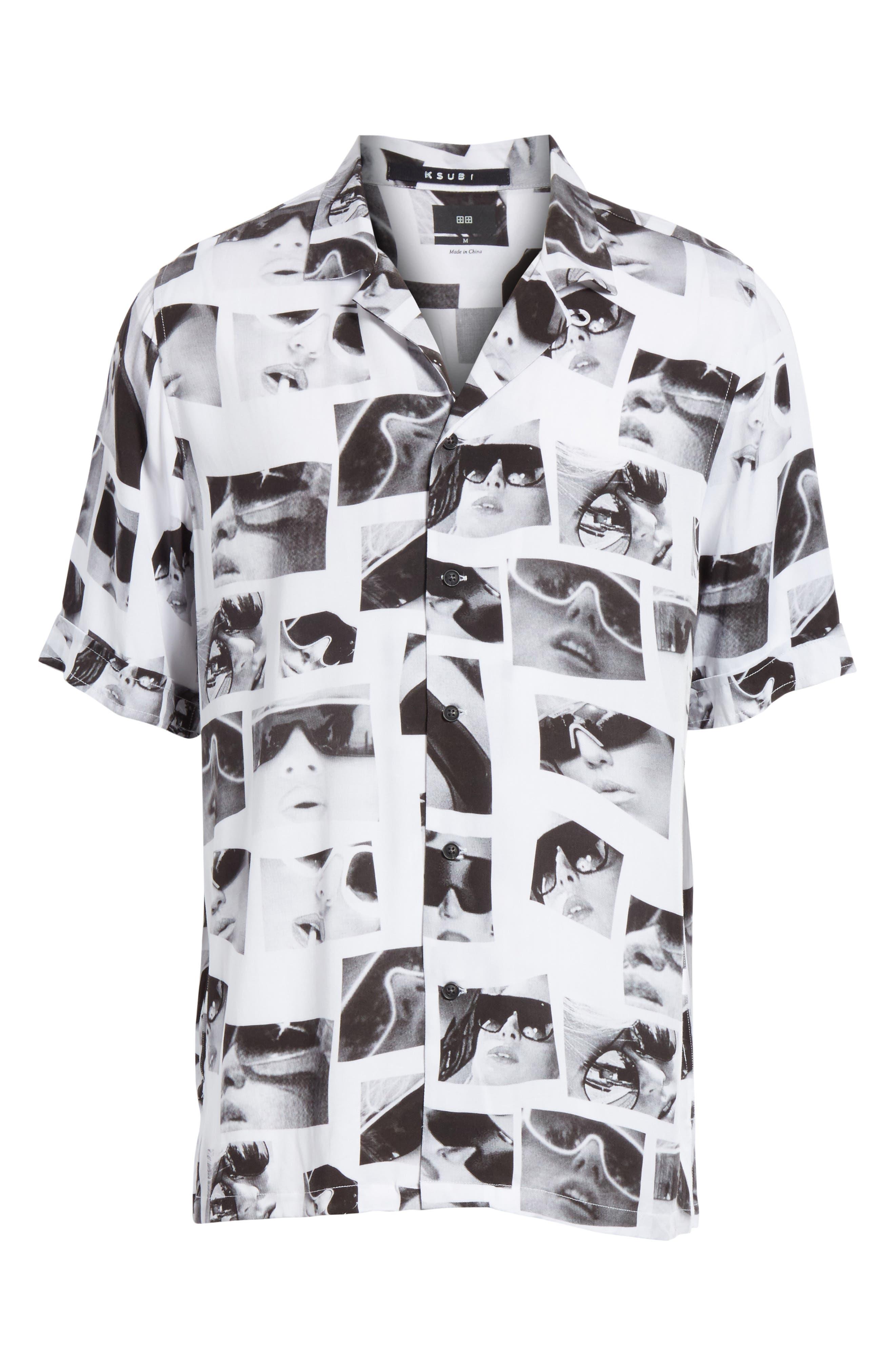 Sedation Eyes Print Camp Shirt,                             Alternate thumbnail 6, color,                             100