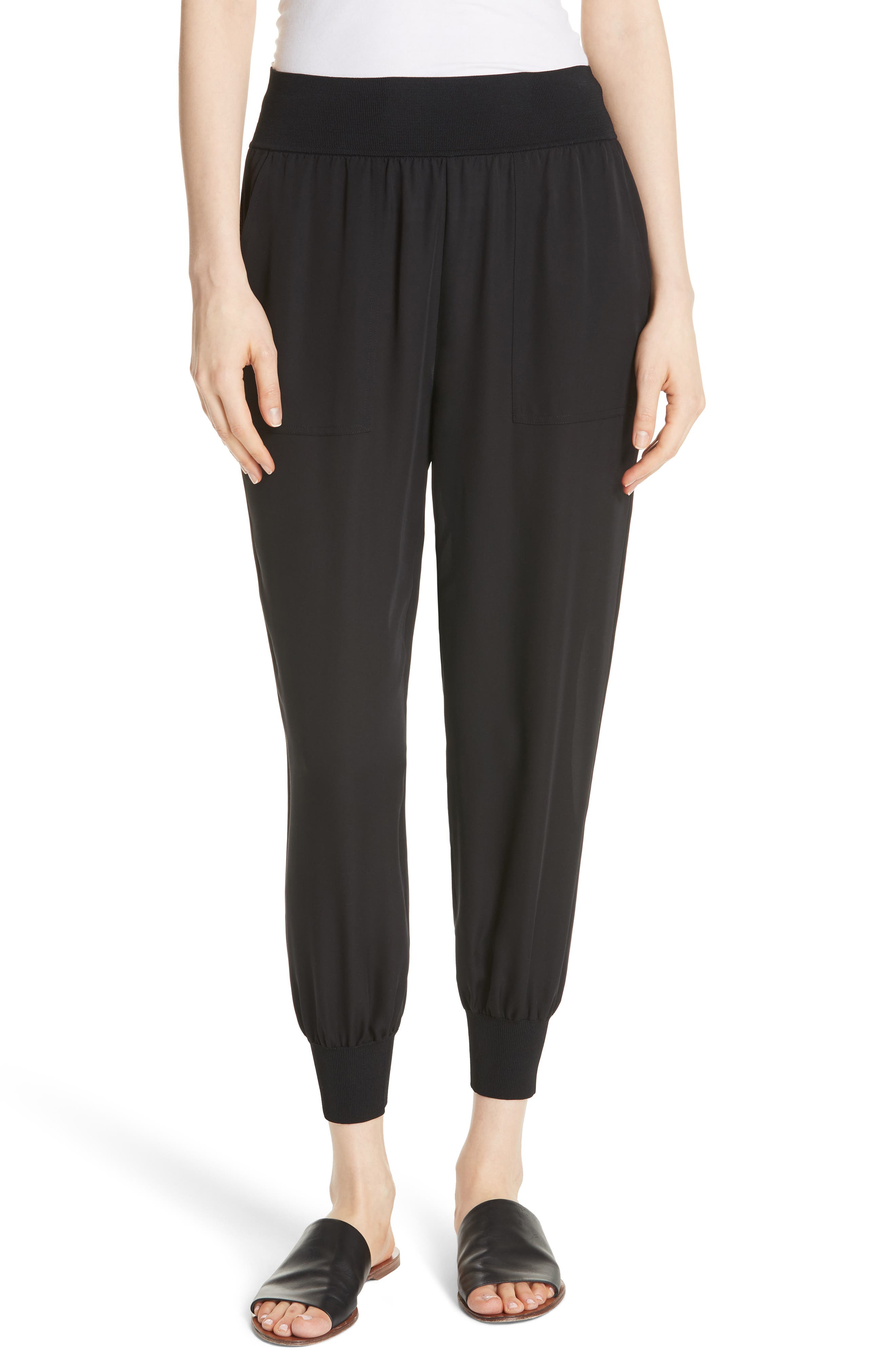 Silk Jogger Pants,                         Main,                         color, BLACK